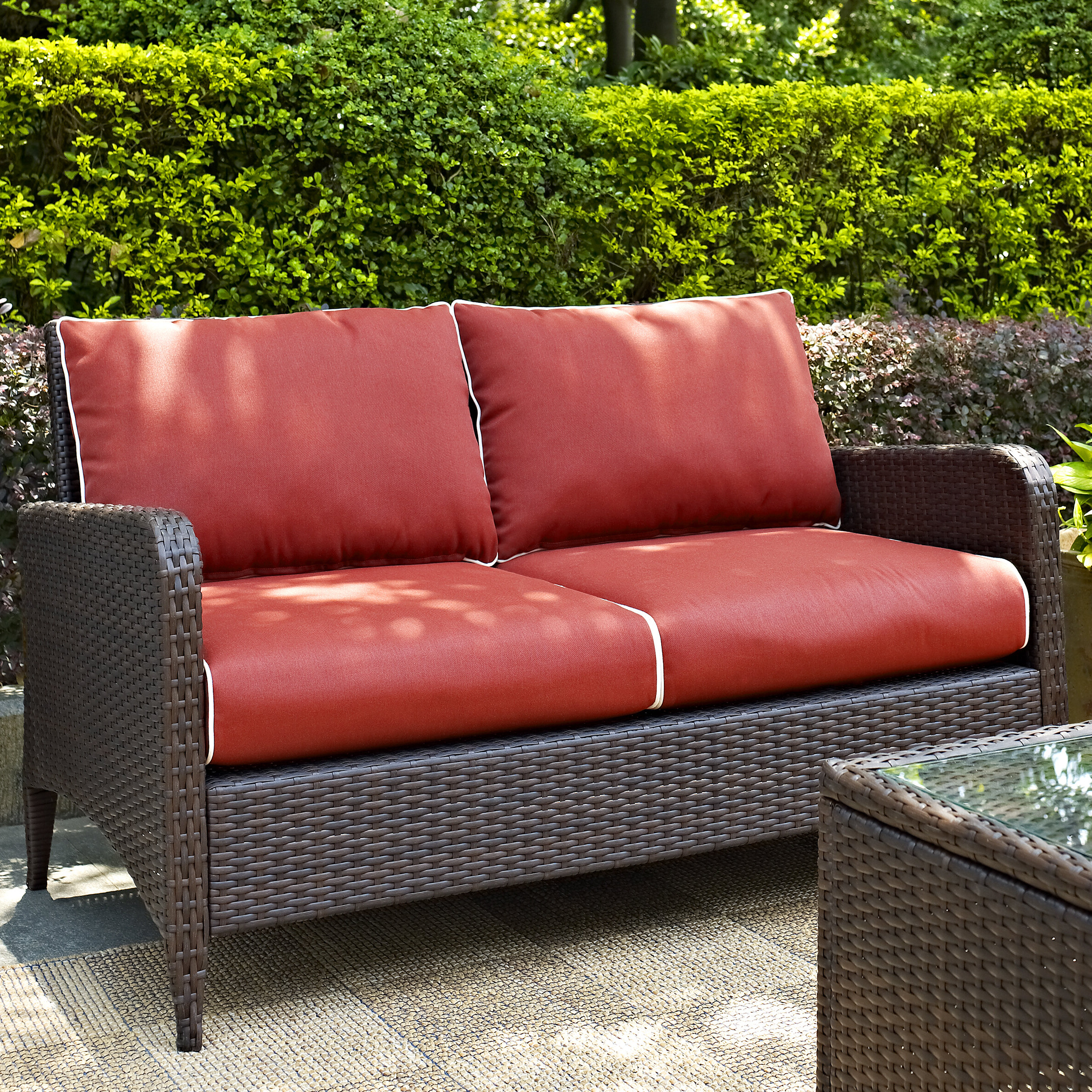Hagler Outdoor Loveseats With Cushions Within Famous Mosca Patio Loveseat With Cushions (View 15 of 25)