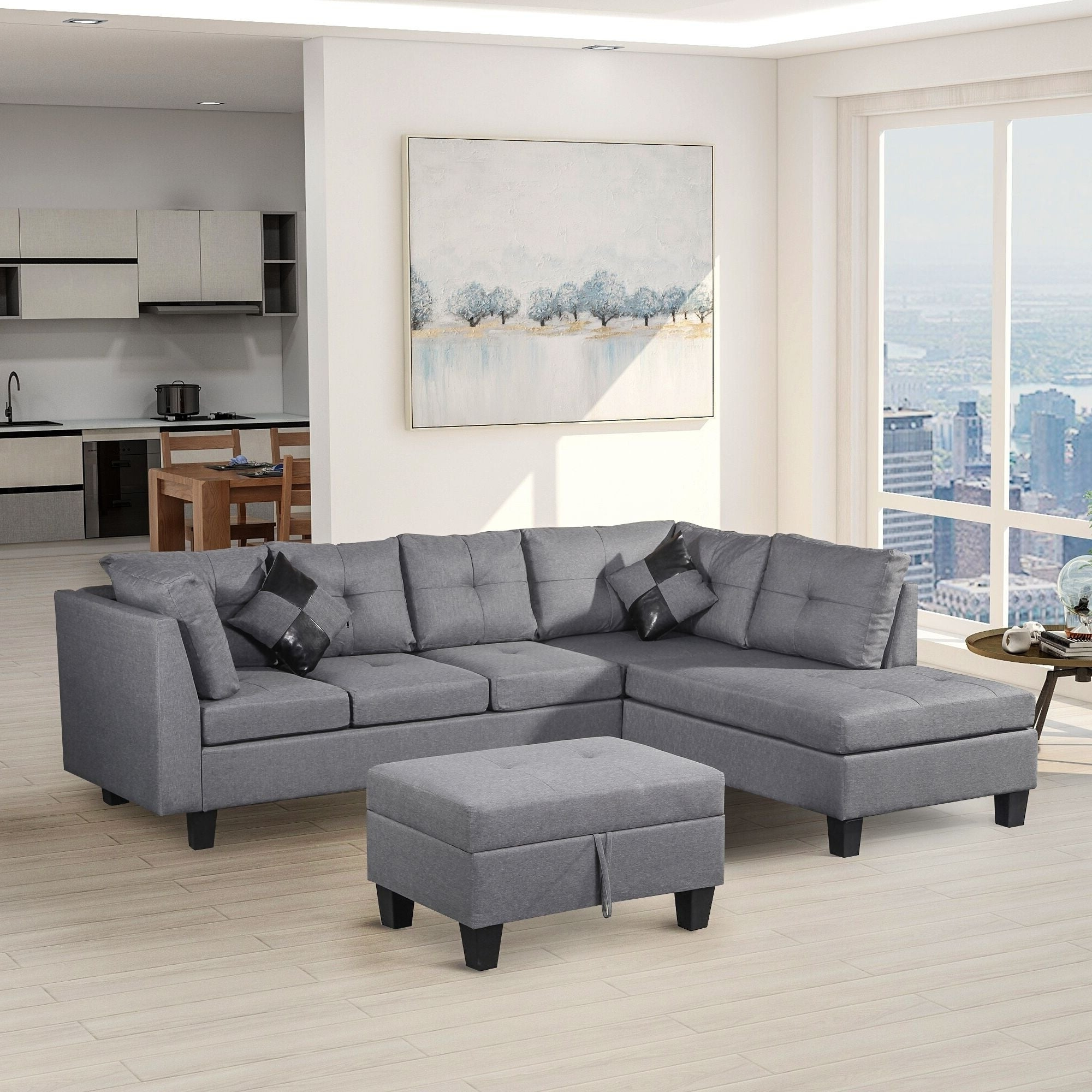Harper & Bright Designs 3 Piece Sectional Sofa With Loveseat And Ottoman Within Best And Newest Landis Loveseats With Cushions (View 20 of 25)
