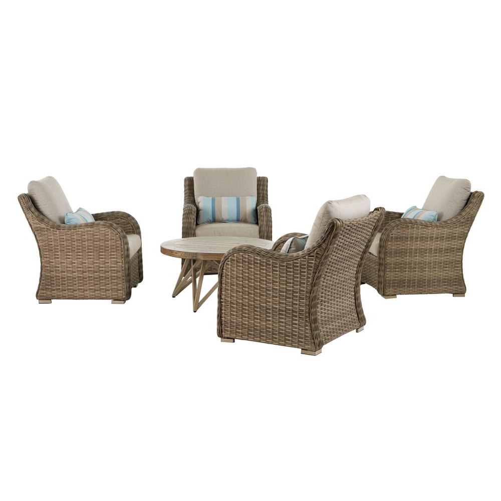 Home Decorators Collection Gwendolyn 5 Piece Wicker Patio Deep Seating Set With Sunbrella Cast Ash Cushions Within Well Liked 4 Piece Sierra Sunbrella Seating Group (View 14 of 25)