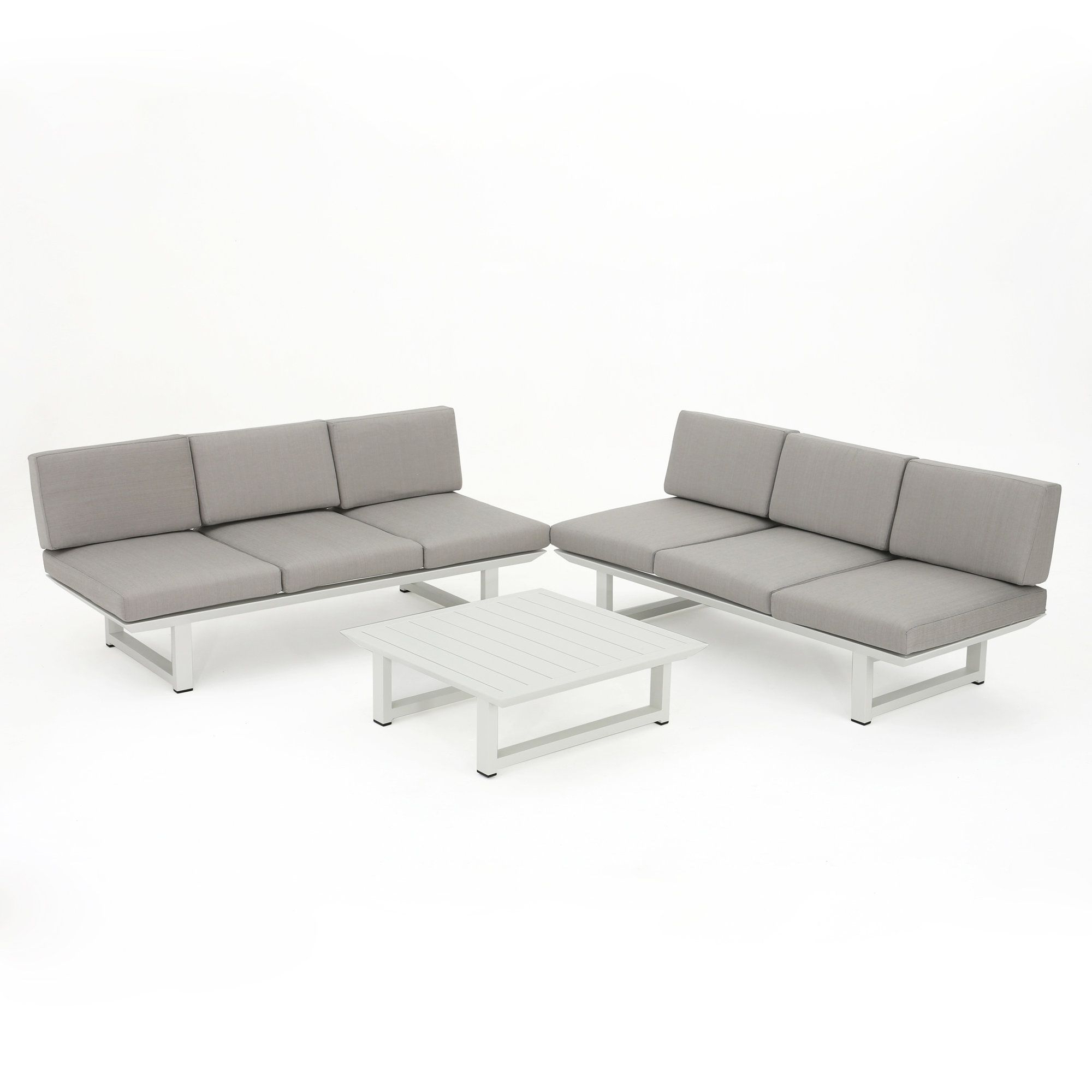 Honeycutt Patio Sofas With Cushions Intended For Most Recently Released Grace Outdoor Aluminum 3 Piece Deep Seating Group With (View 19 of 25)