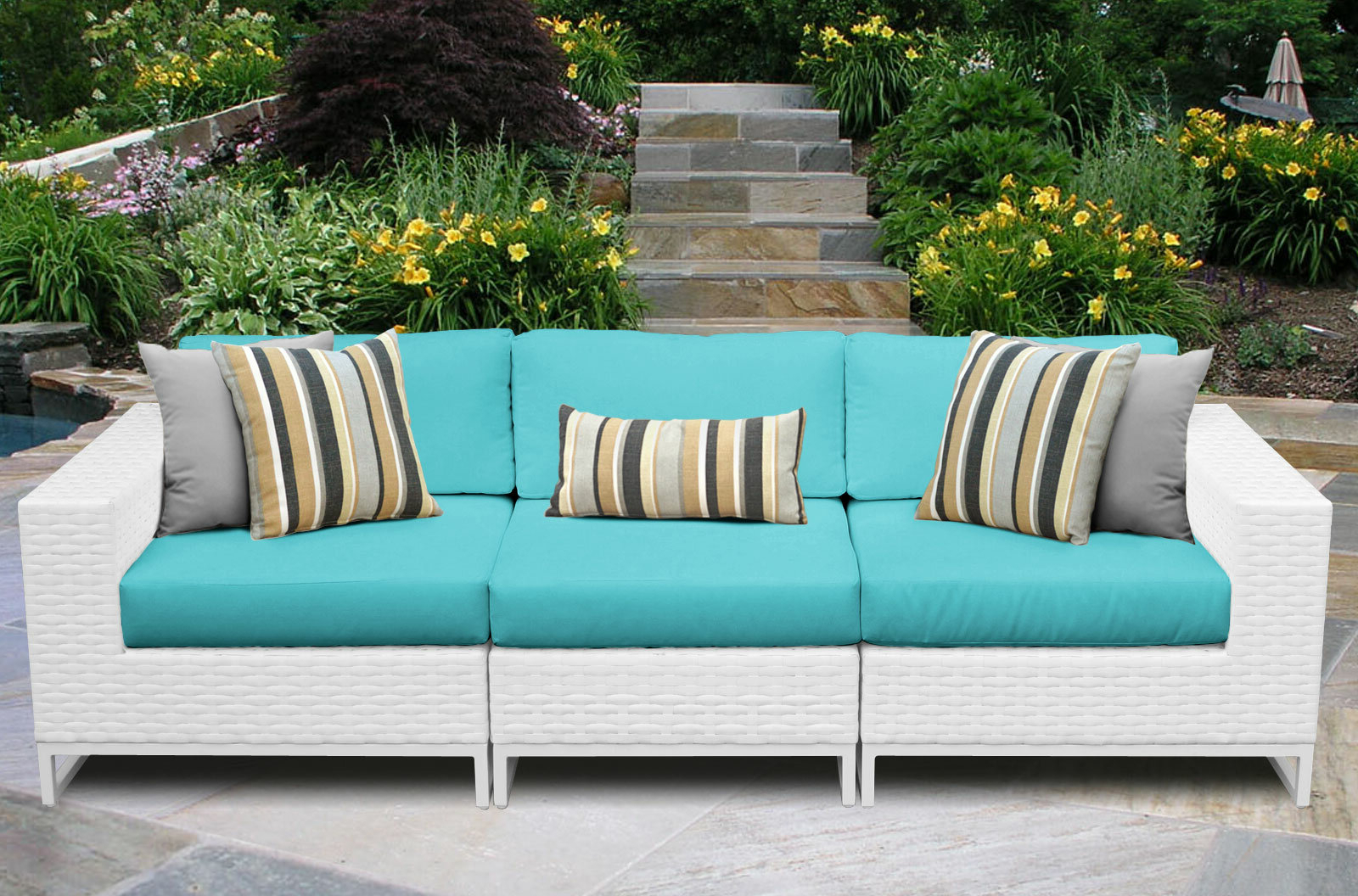 Honeycutt Patio Sofas With Cushions Pertaining To Popular Menifee Patio Sofa With Cushions (View 5 of 25)