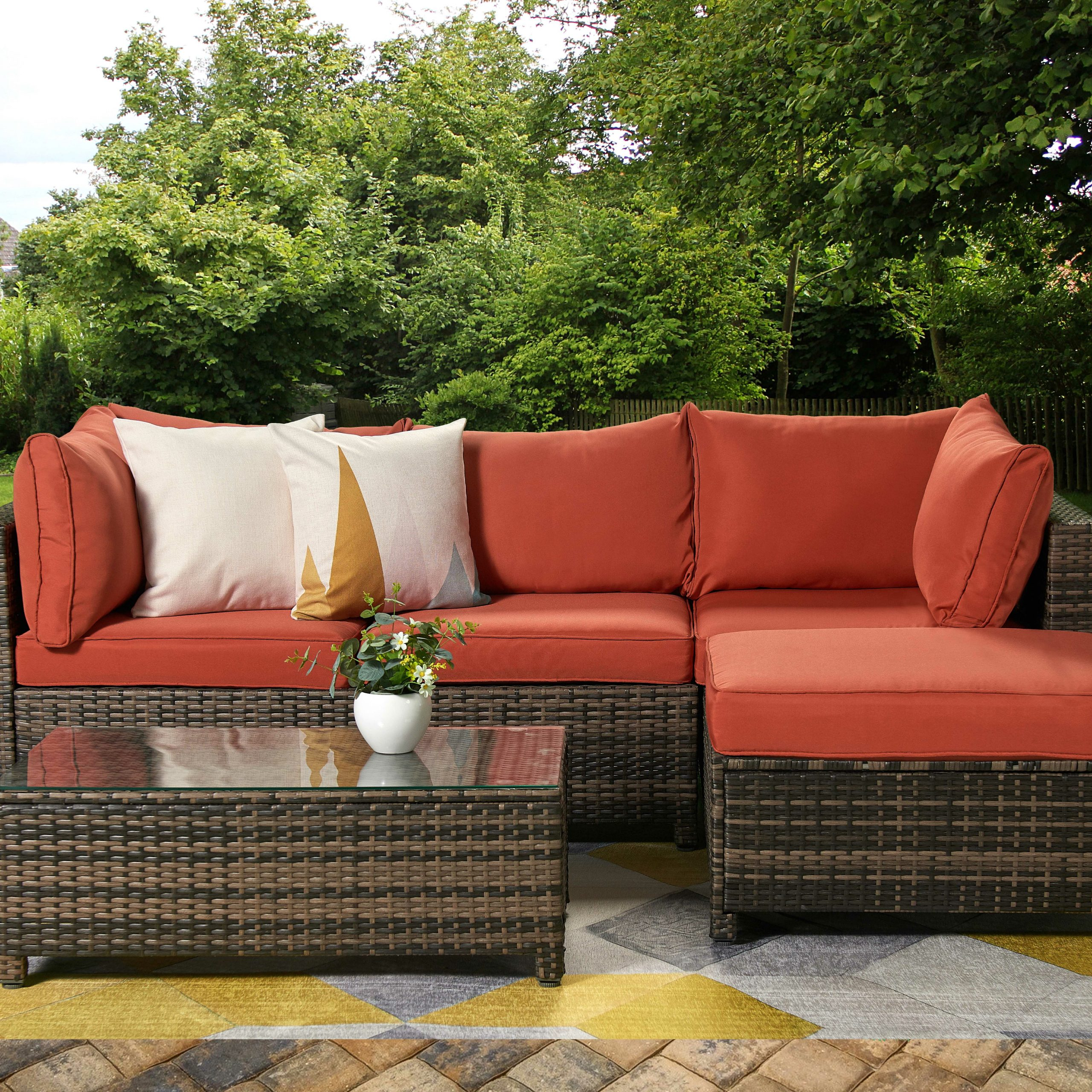 Ivy Bronx Roni Patio Sectional With Cushions & Reviews With Latest Burruss Patio Sectionals With Cushions (View 12 of 25)