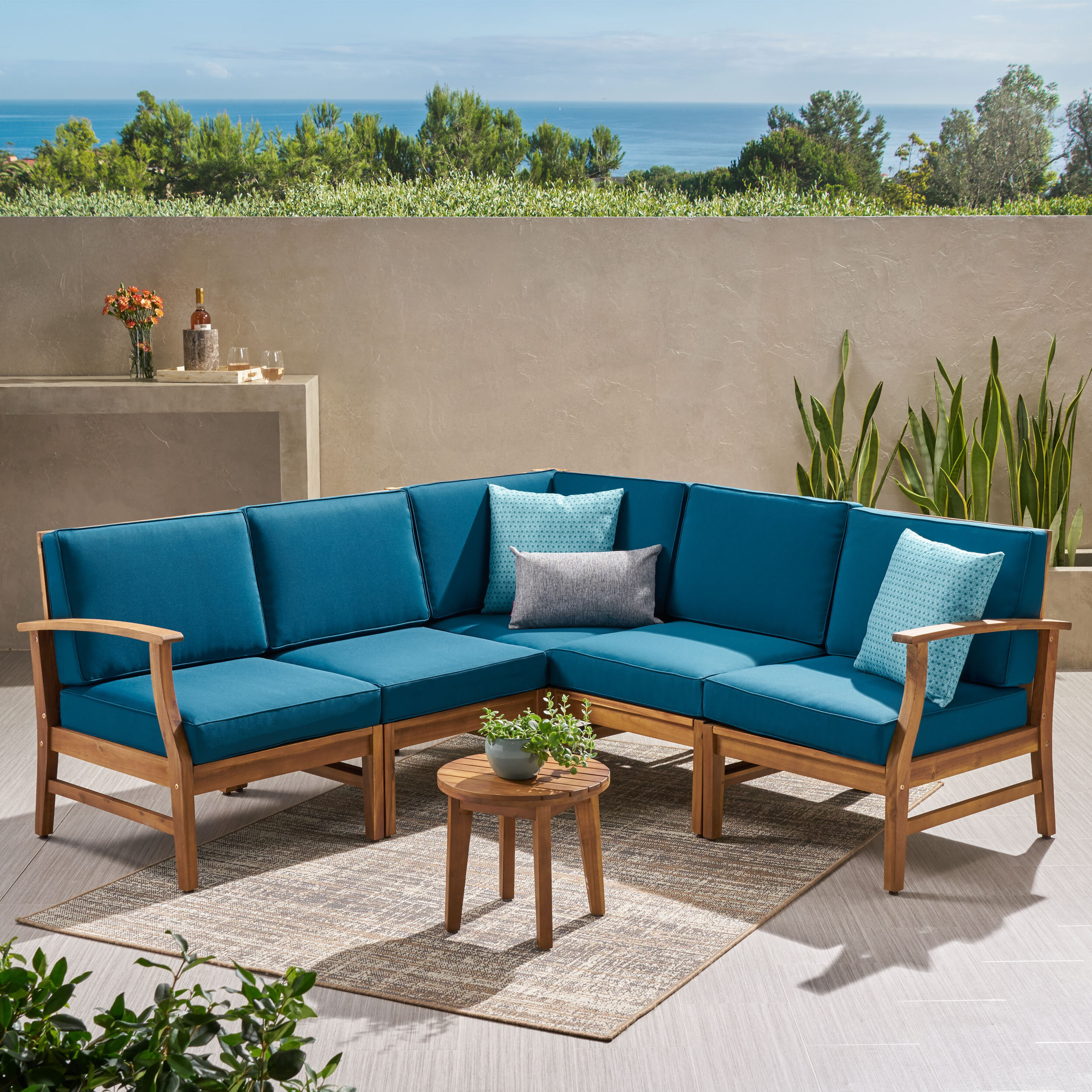 Jamilla Teak Patio Sofas With Cushion Pertaining To Preferred Mistana Antonia Teak Patio Sectional With Cushions (View 8 of 25)