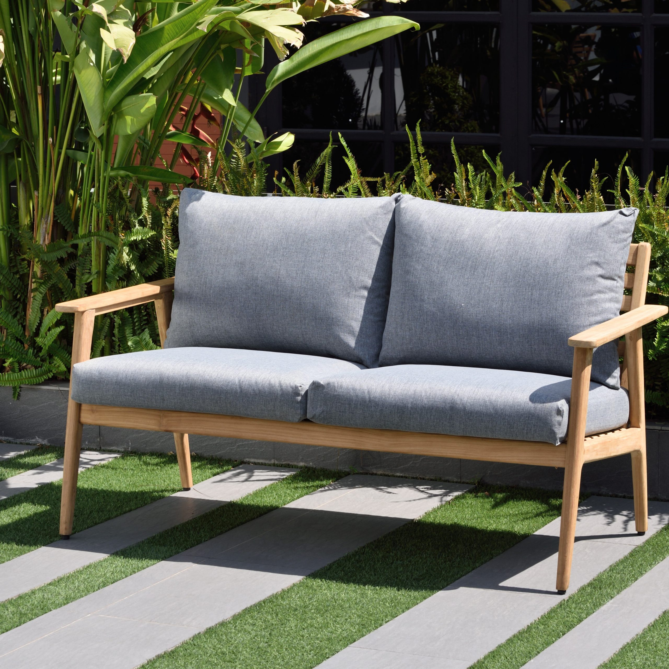 Jamilla Teak Patio Sofas With Cushion With Regard To Newest Brayden Studio Darrah Deep Seating Teak Patio Sofa With (View 9 of 25)