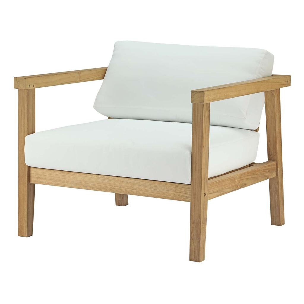 Jamilla Teak Patio Sofas With Cushion Within Best And Newest Bayport Outdoor Patio Teak Wood Armchair – Natural White (Gallery 21 of 25)