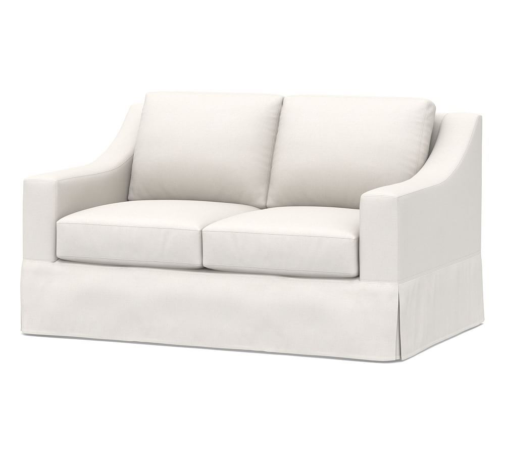 Kari Loveseats With Sunbrella Cushions Regarding Most Popular York Slope Arm Slipcovered Loveseat (View 11 of 25)