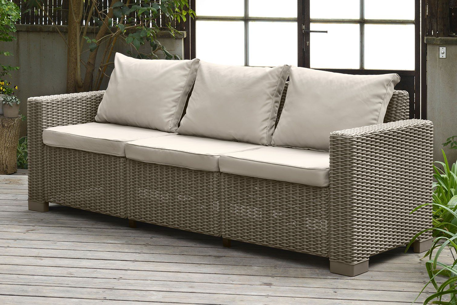 Keter California 3seater Seating Patio Sofa With Cushions In Inside Most Popular Furst Outdoor Loveseats With Cushions (View 13 of 25)