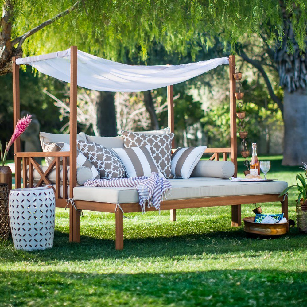 Khaki Cushion Patio Daybed Ottoman Set Outdoor Home Furniture Garden Backyard For Best And Newest Naperville Patio Daybeds With Cushion (View 2 of 25)
