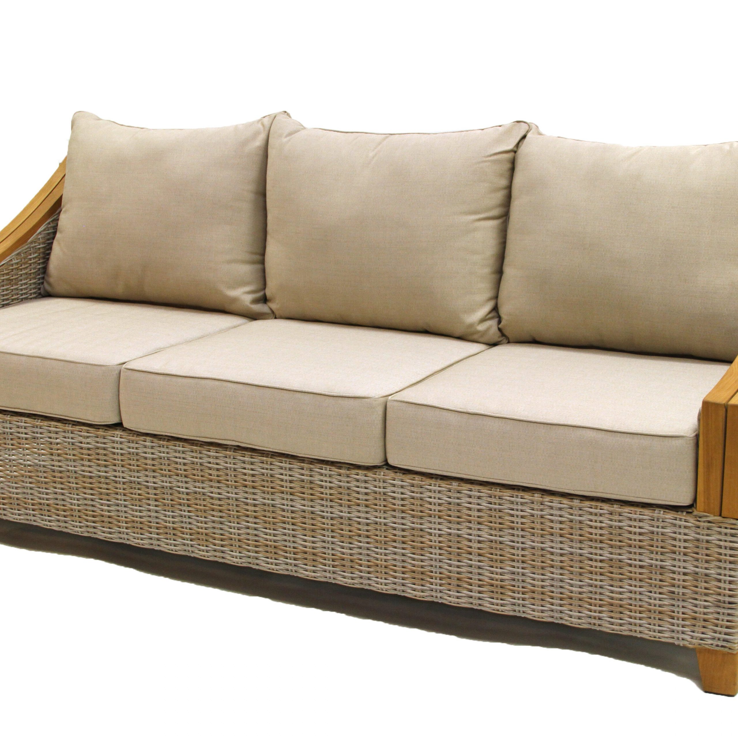 Kincaid Teak Patio Sofa With Sunbrella Cushions For Preferred Wakeland Wicker Loveseats With Cushions (View 10 of 25)