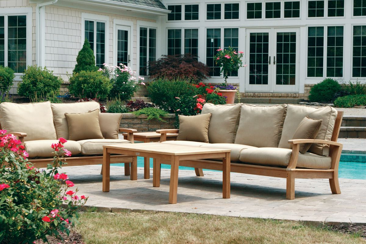 Kincaid Teak Patio Sofas With Sunbrella Cushions With Most Up To Date 3 Pc. Monterey Sofa Set (Gallery 10 of 25)