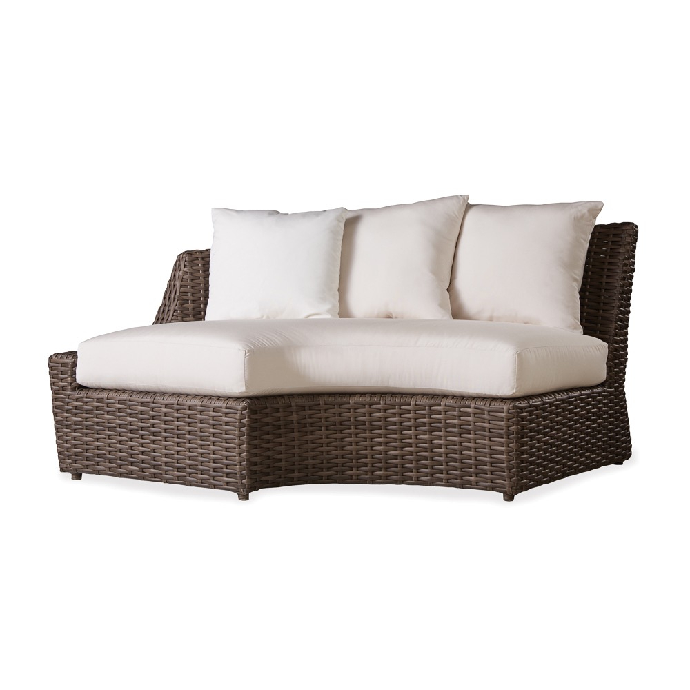 Largo Outdoor Wicker Left Arm Curved Sofa Sectional Regarding Most Current Catalina Outdoor Right Arm Sectional Pieces With Cushions (View 25 of 25)
