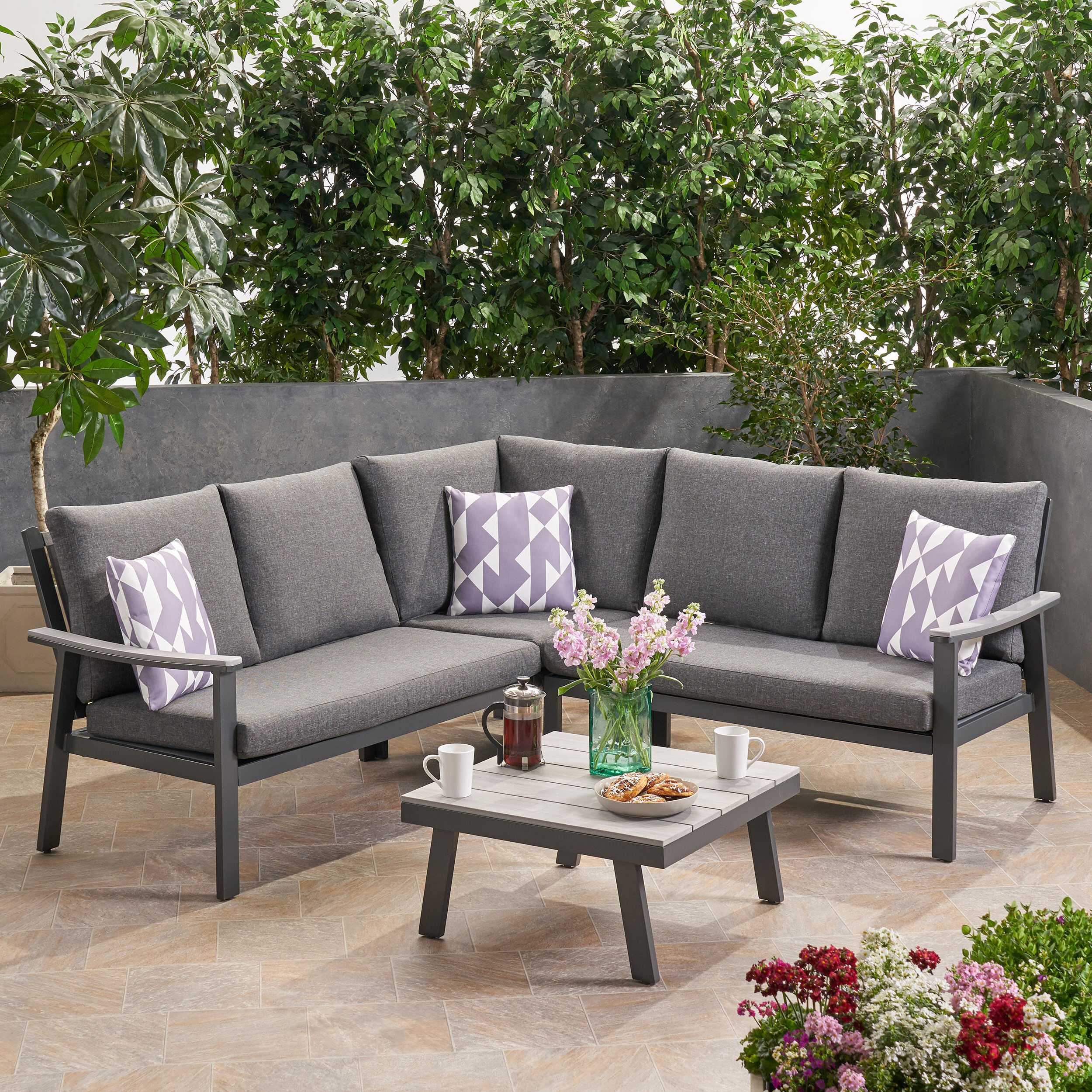 Latest Arocho Outdoor 4 Piece Sectional Seating Group With Cushions Pertaining To Jimmie 3 Piece Sectionals Seating Group With Cushions (View 12 of 25)