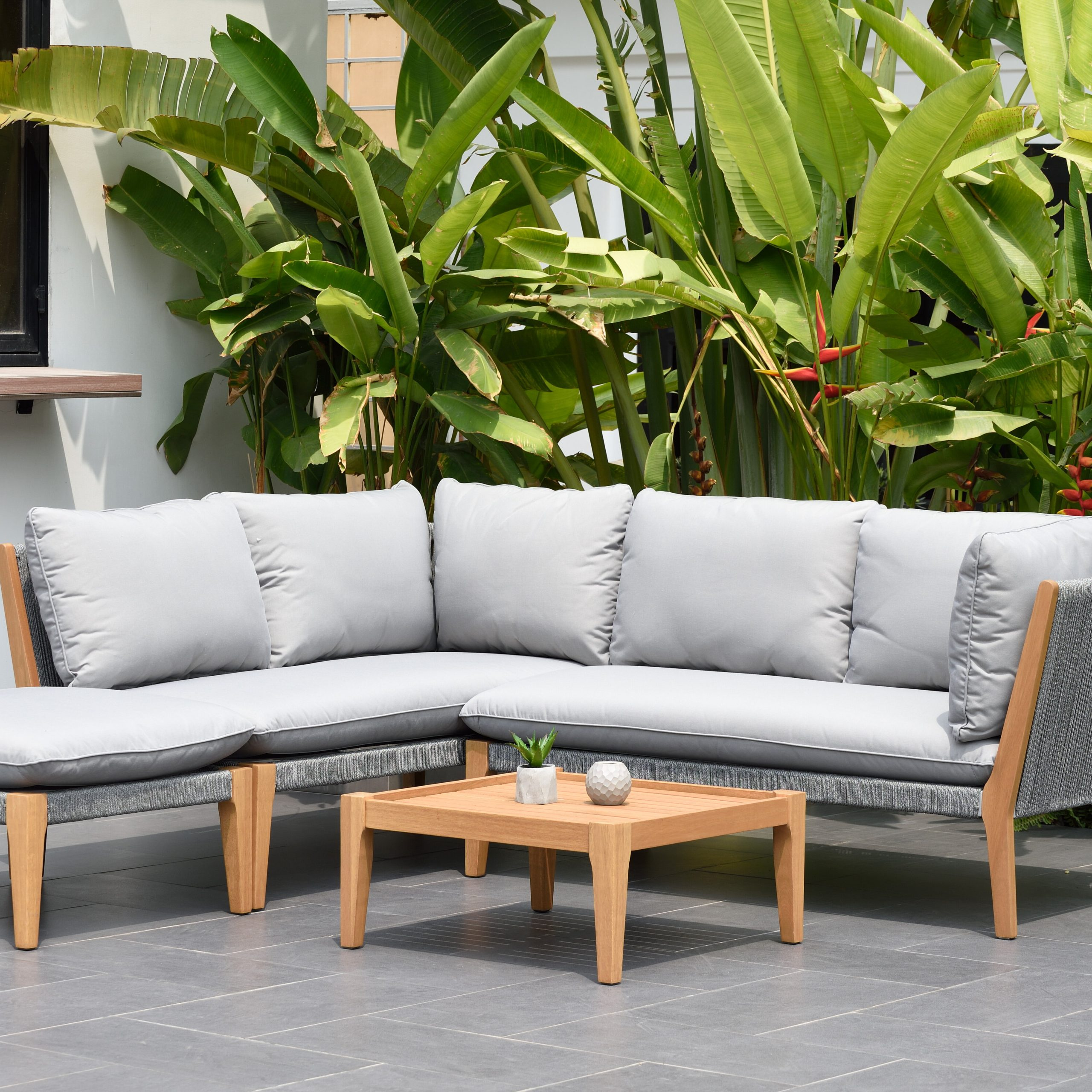 Latest Carina 4 Piece Sectionals Seating Group With Cushions Pertaining To Olinda 4 Piece Teak Sectional Seating Group With Cushions (View 12 of 25)