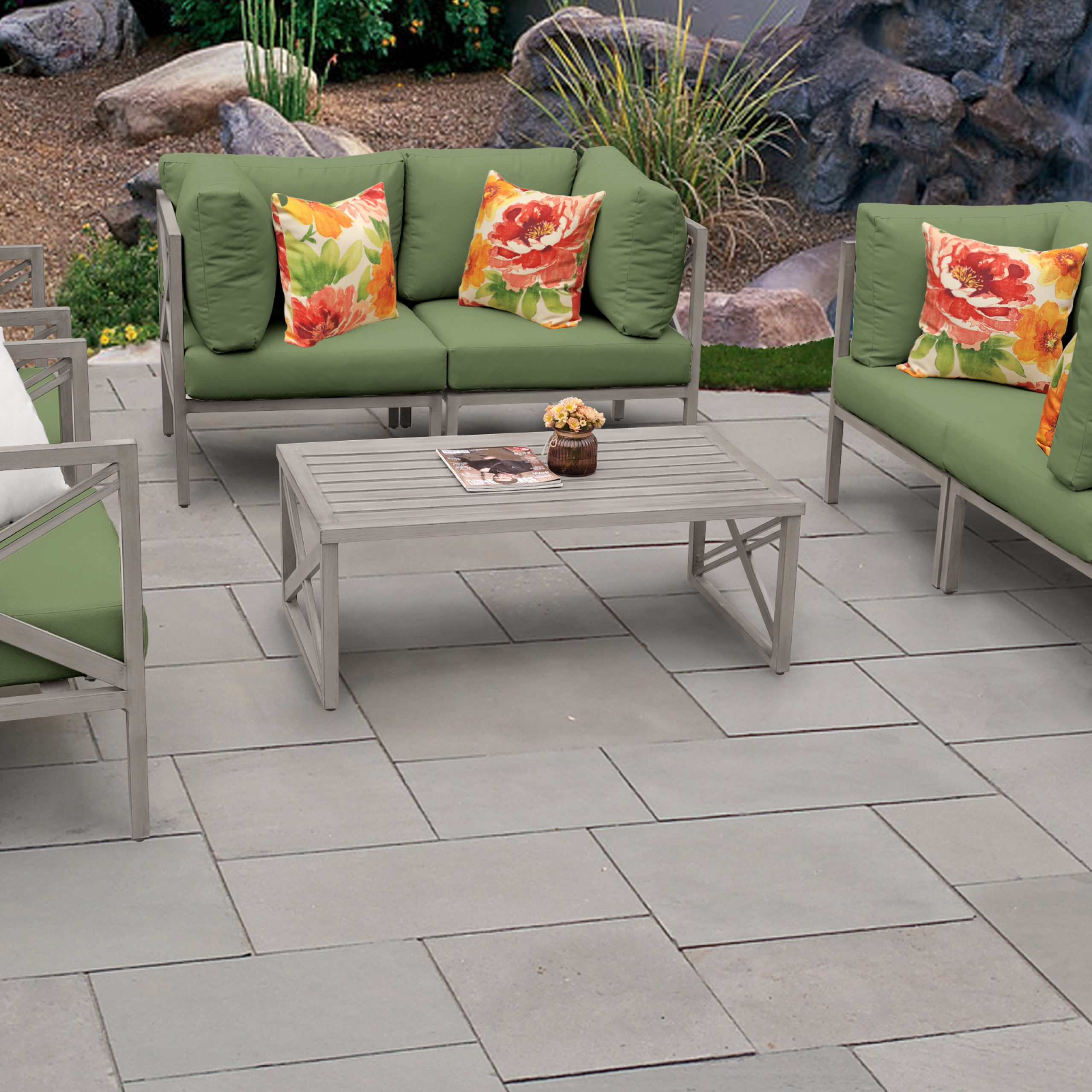 Latest Carlisle Patio Sofas With Cushions Intended For Carlisle 7 Piece Outdoor Aluminum Patio Furniture Set 07C (View 15 of 25)