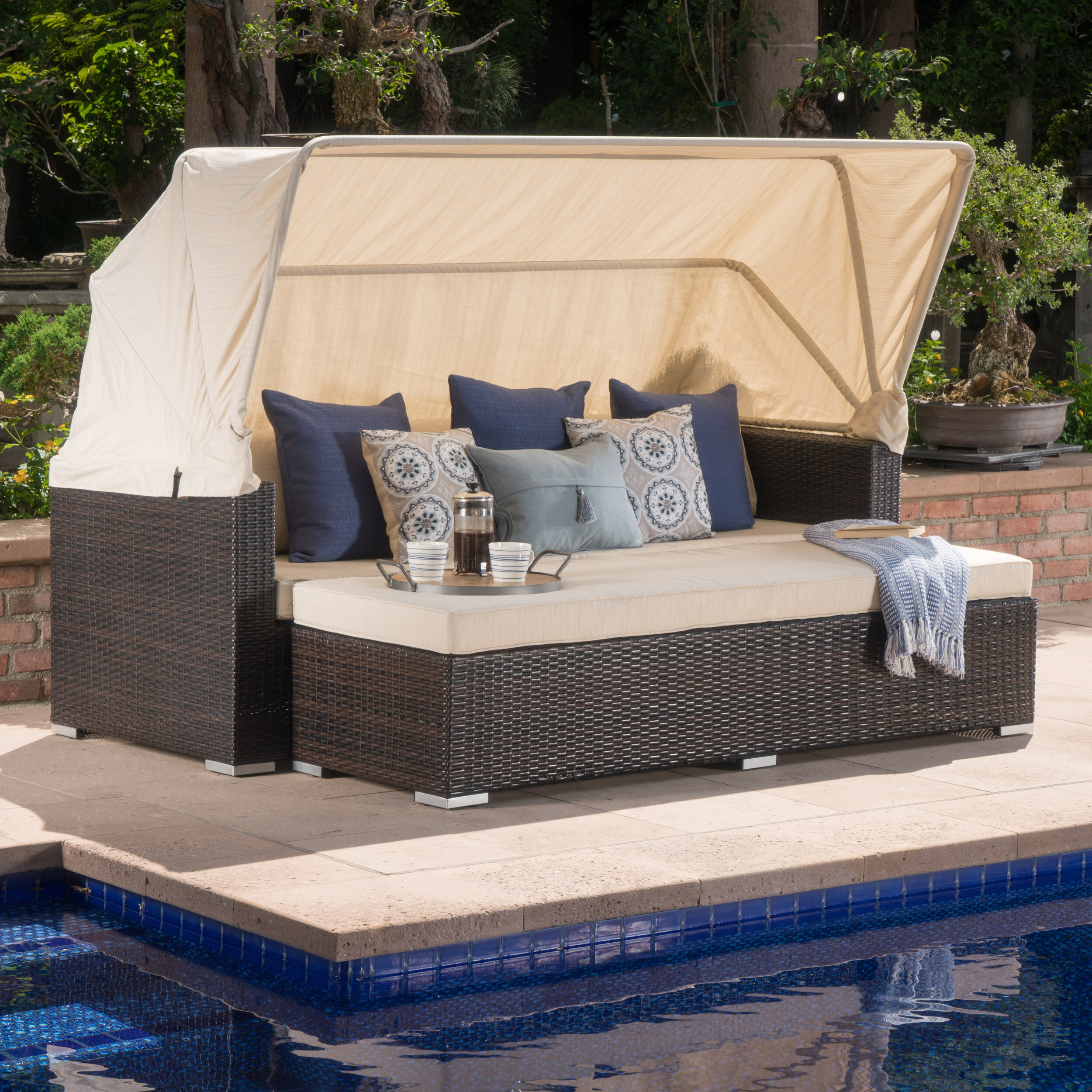 Latest Dowling Patio Daybeds With Cushion Pertaining To Lammers Patio Daybed With Cushions (View 6 of 25)