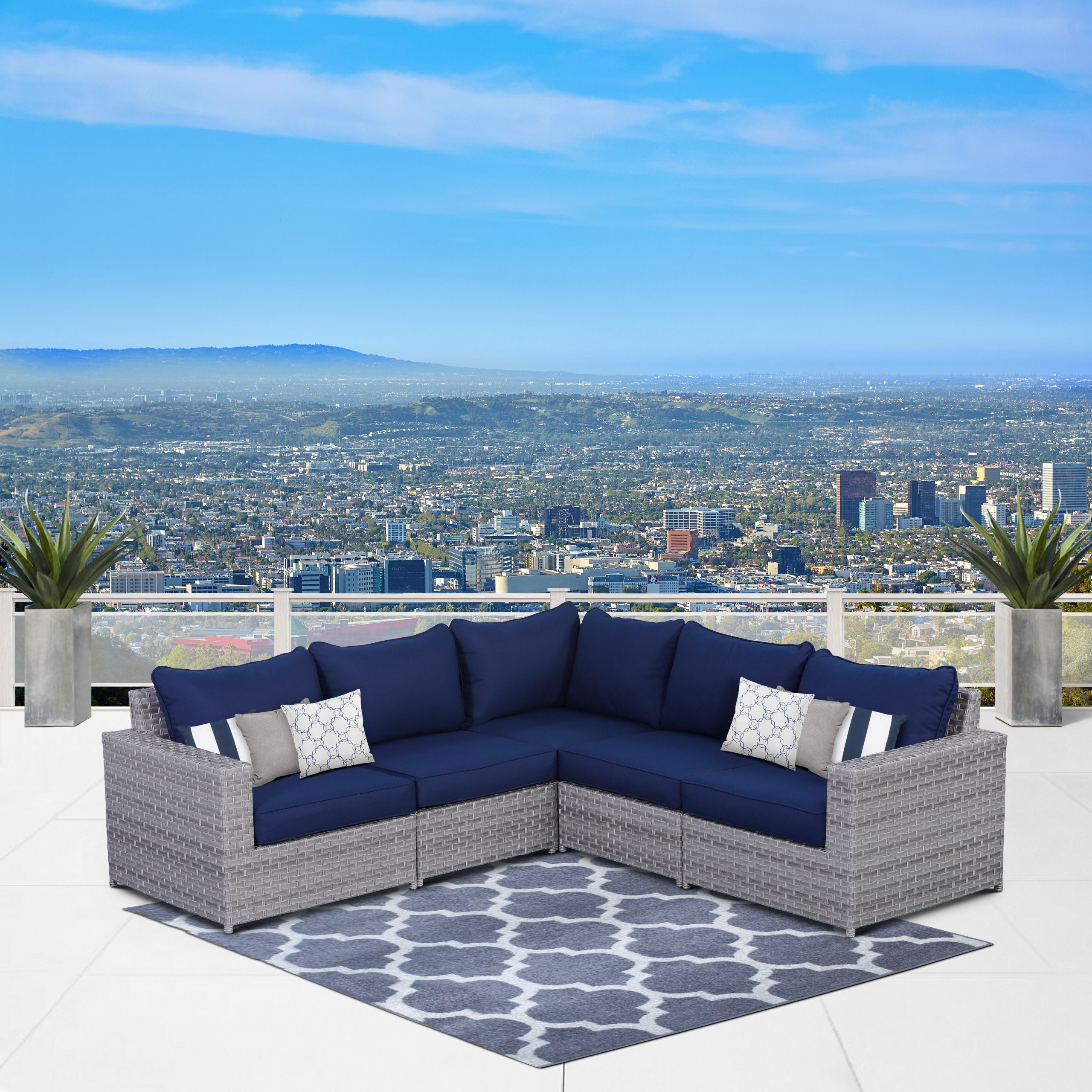Latest Eldora Patio Sectionals With Cushions For Laron Patio Sectional With Cushions (View 7 of 25)