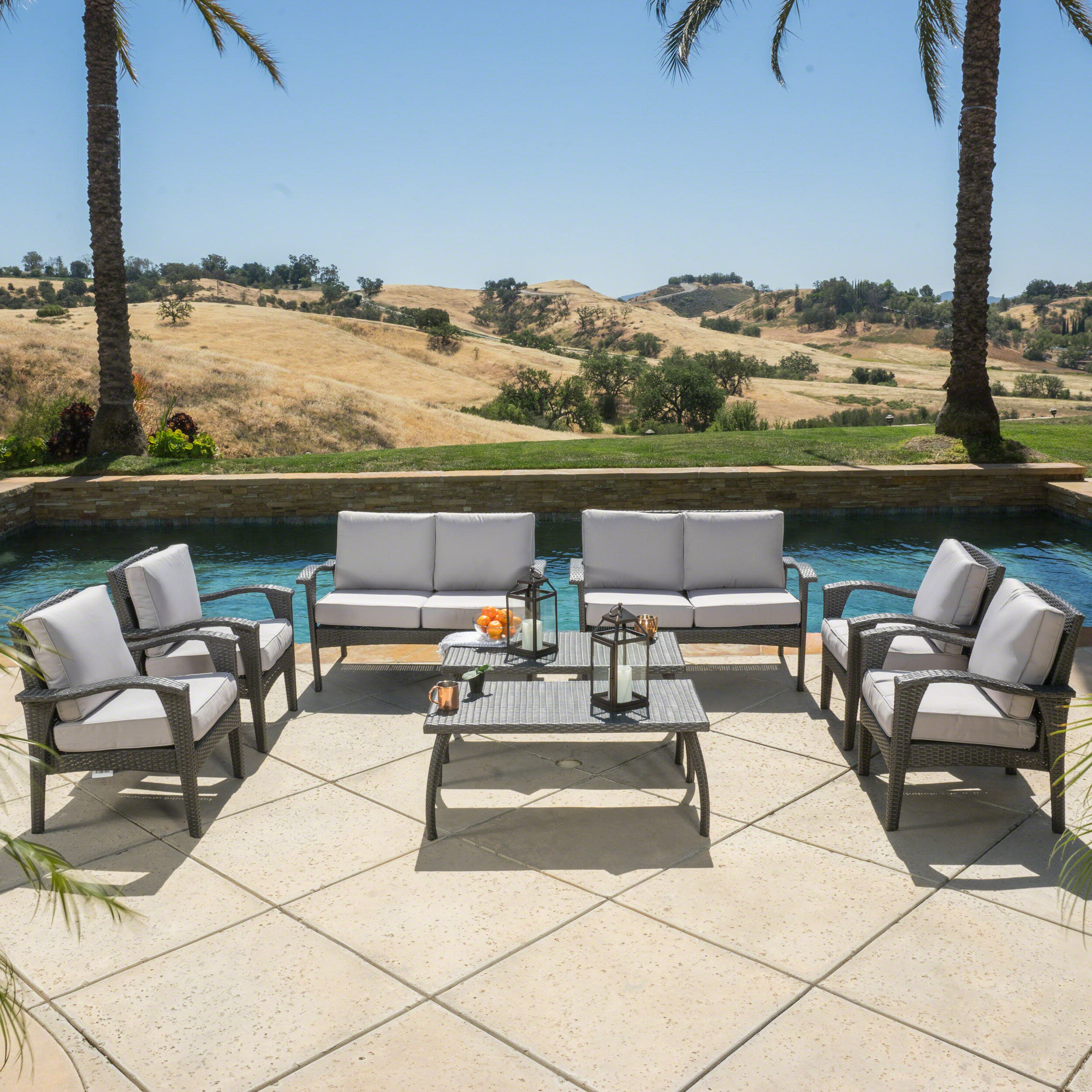 Latest Hagler Outdoor Loveseats With Cushions For Hagler 8 Piece Sofa Seating Group With Cushions (View 6 of 25)