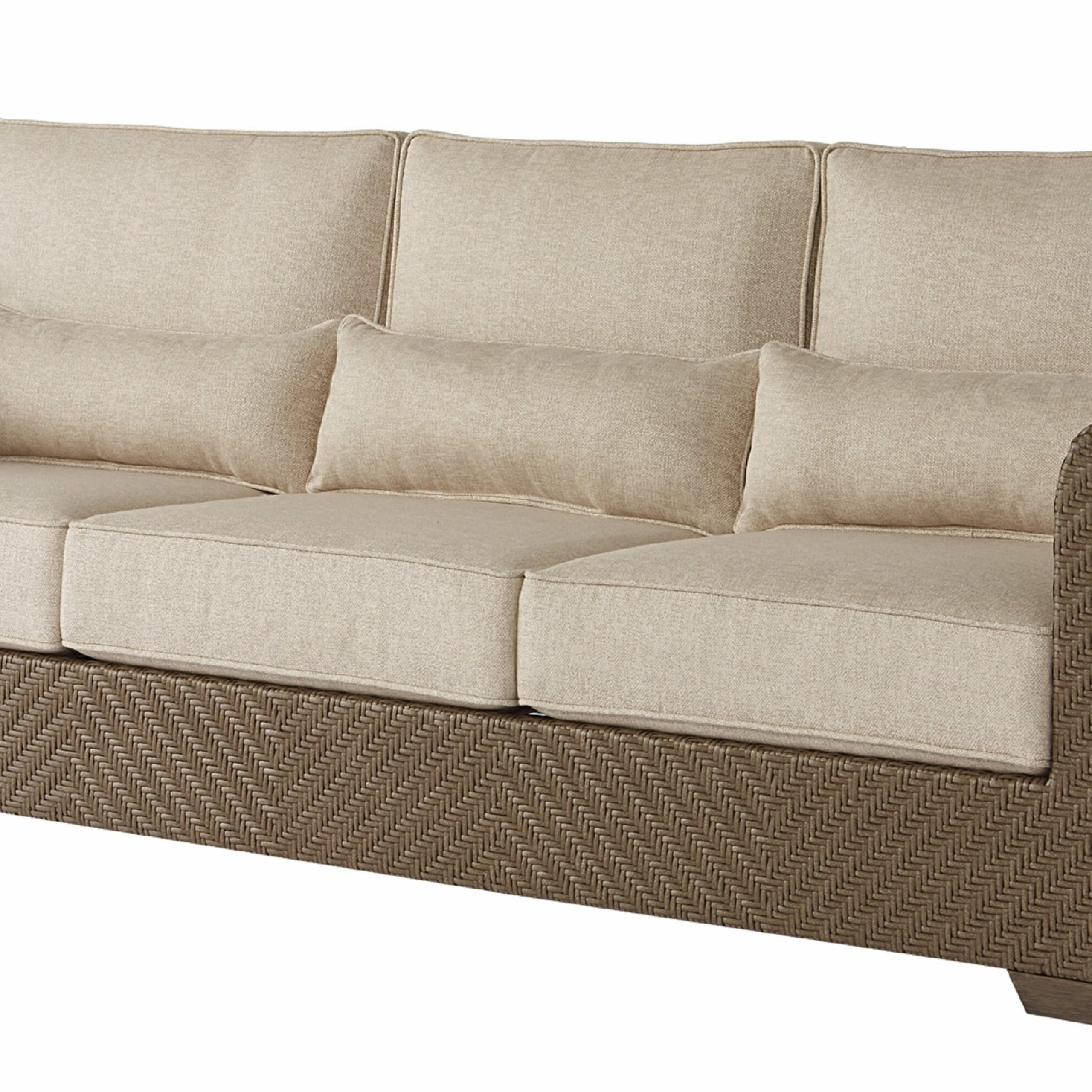 Latest Salvato Sofas With Cushion With Regard To Astrid Wicker Patio Sofa With Cushions (View 2 of 25)