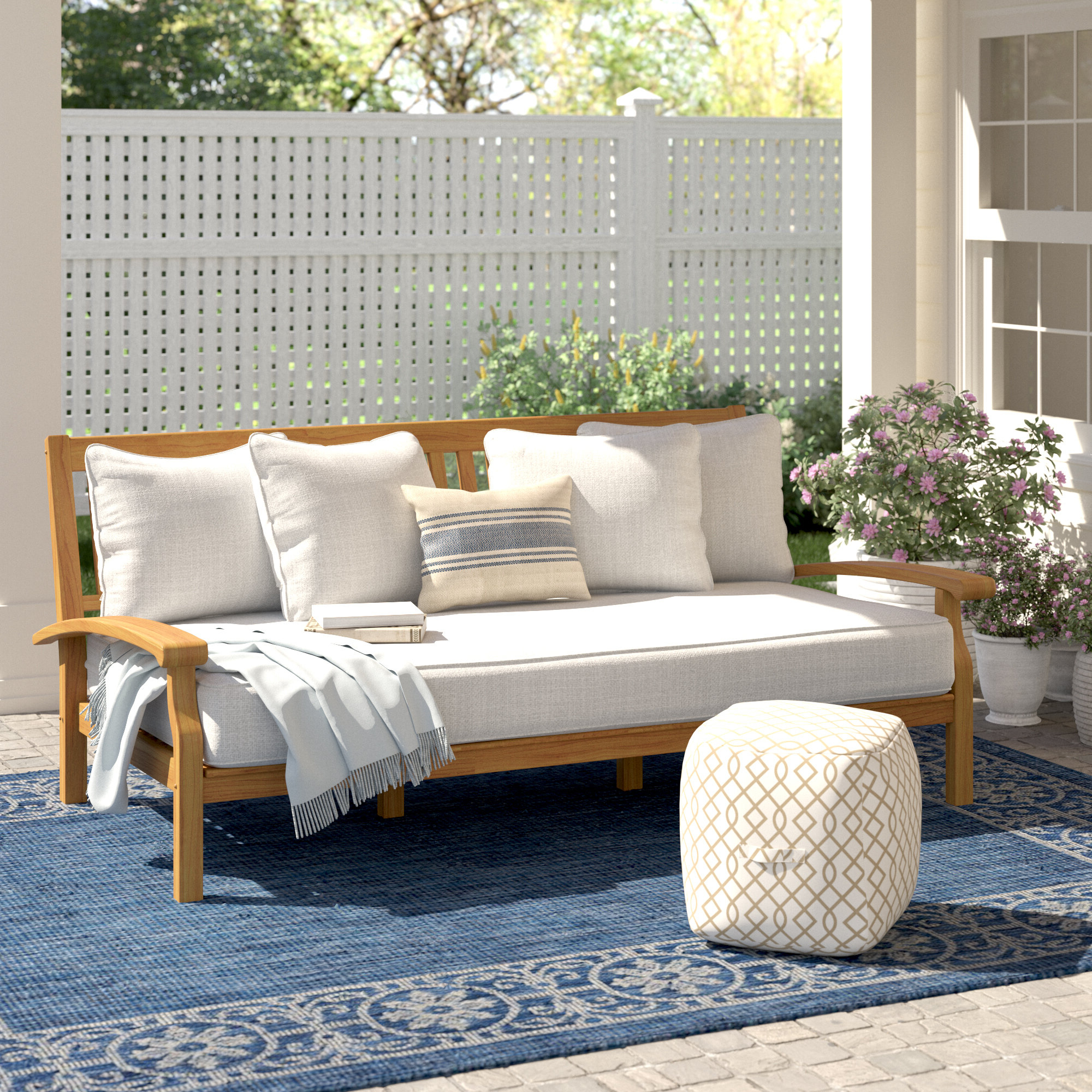 Latest Summerton Teak Patio Daybed With Cushion Regarding Bodine Patio Daybeds With Cushions (Gallery 15 of 25)