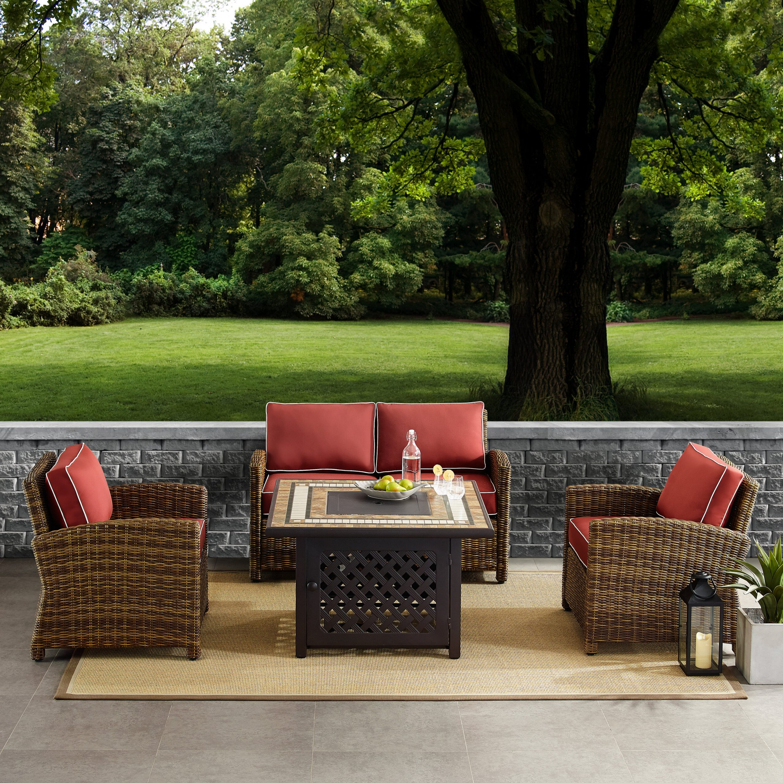 Lawson 4 Piece Outdoor Wicker Seating Set With Navy Cushions – Loveseat, Two Arm Chairs Fire Table Intended For Recent Lawson Wicker Loveseats With Cushions (Gallery 23 of 25)