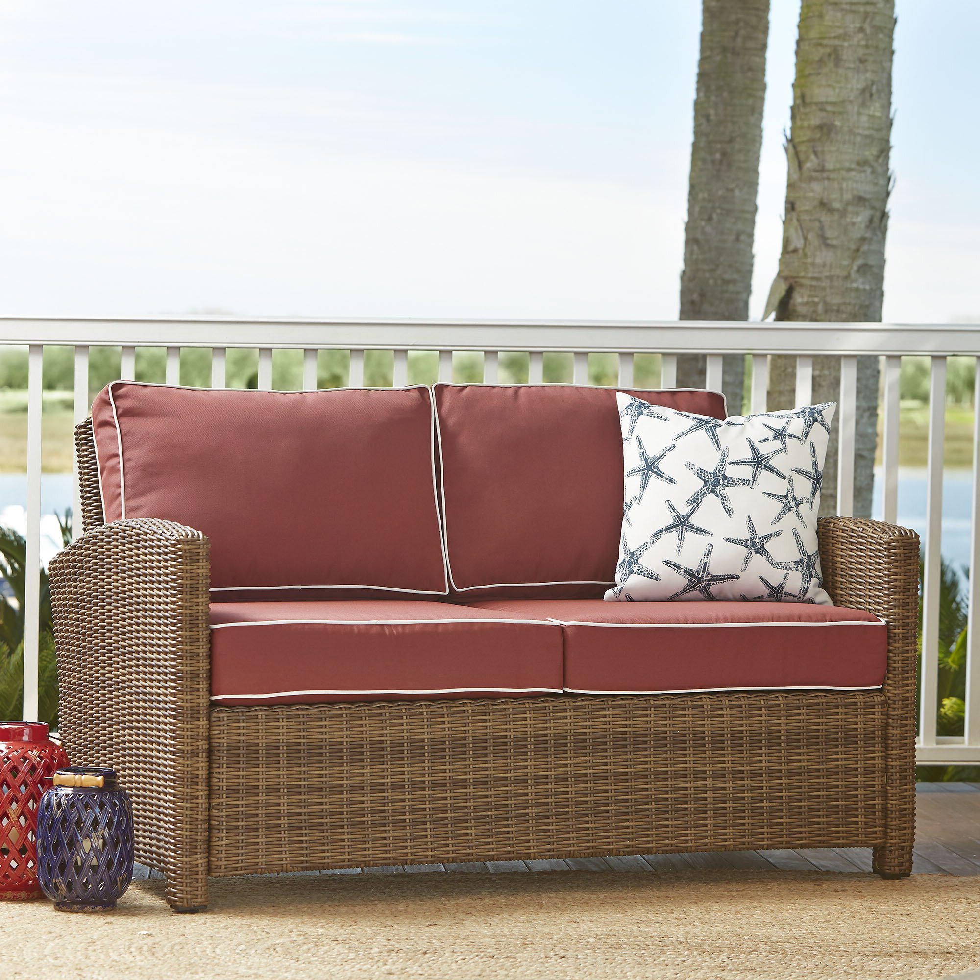Lawson Wicker Loveseat With Cushions Intended For Recent Lawson Patio Sofas With Cushions (Gallery 13 of 25)