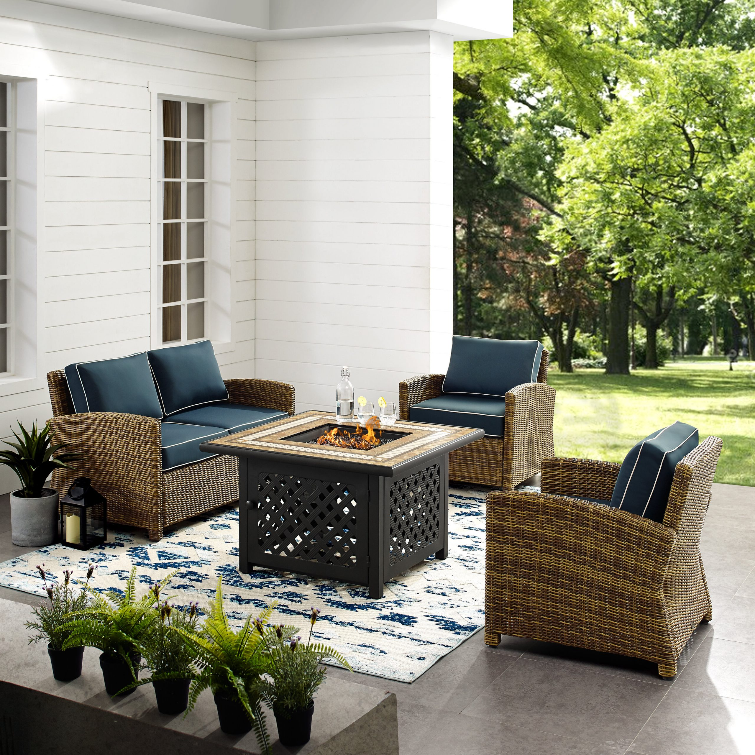 Lawson Wicker Loveseats With Cushions Pertaining To Preferred Lawson 4 Piece Outdoor Wicker Seating Set With Navy Cushions – Loveseat, Two Arm Chairs Fire Table (Gallery 14 of 25)