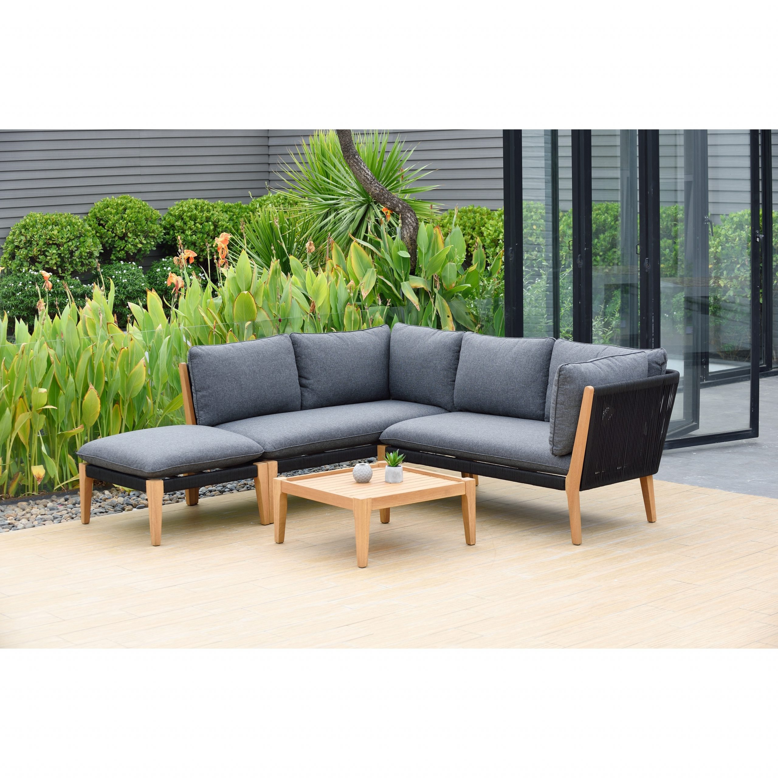 Lazio 4 Piece Patio Outdoor Sectional Set With Certified Regarding Current Olinda 4 Piece Teak Sectionals Seating Group With Cushions (View 10 of 25)
