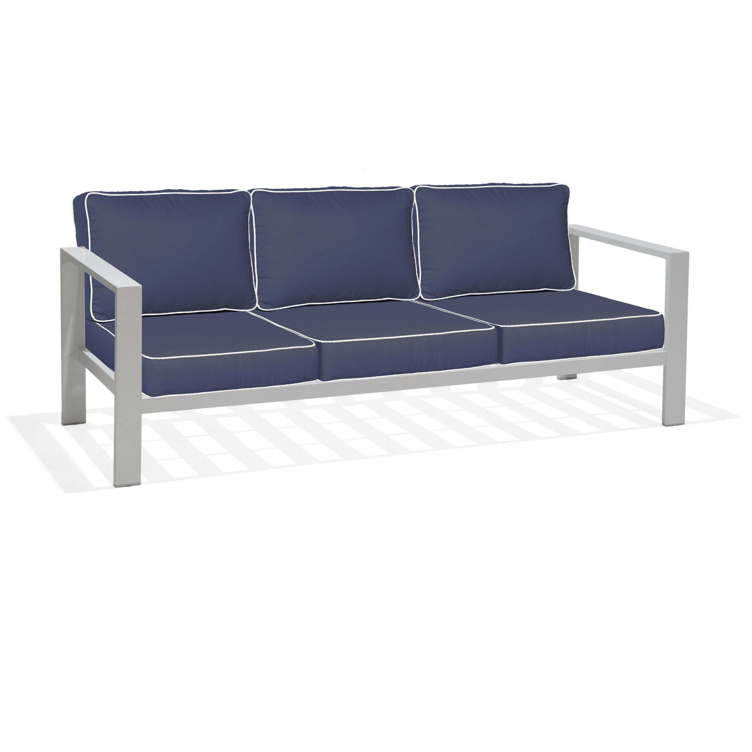 Lincoln Park Sofa With Sunbrella Cushions For Fashionable Zeman Ultra Comfortable Upholstered Anodized Aluminum Loveseats With Cushion (View 11 of 25)