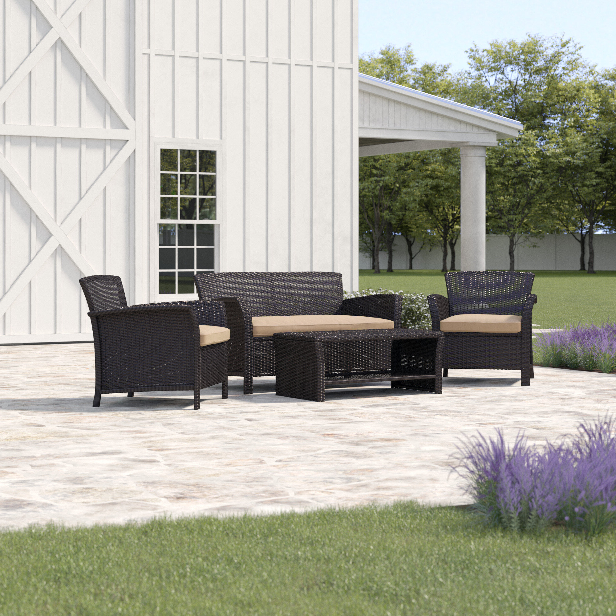 Livingston 4 Piece Rattan Sofa Seating Group With Cushions With Regard To Most Current Carina 4 Piece Sectionals Seating Group With Cushions (Gallery 23 of 25)
