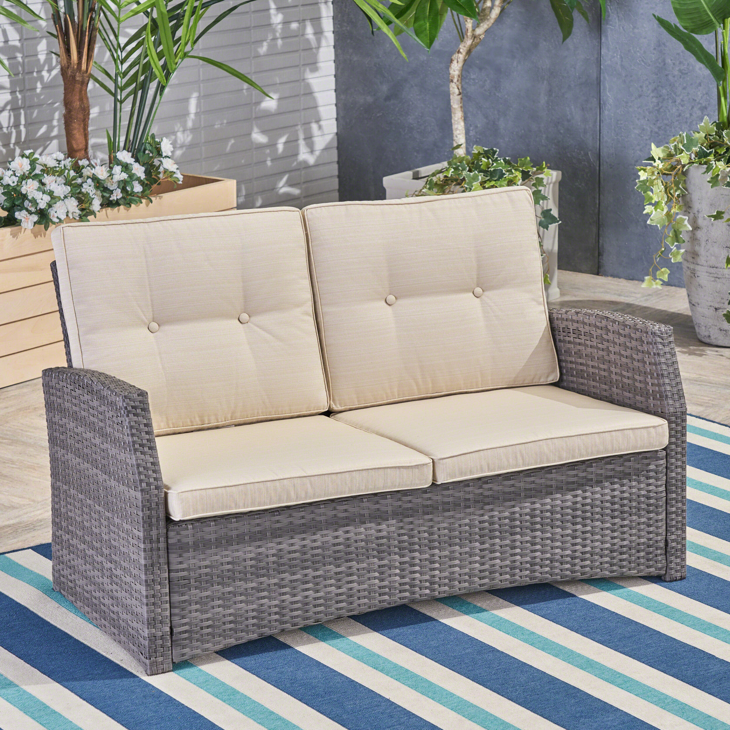 Loganville Loveseat With Cushions For Latest Furst Outdoor Loveseats With Cushions (View 18 of 25)