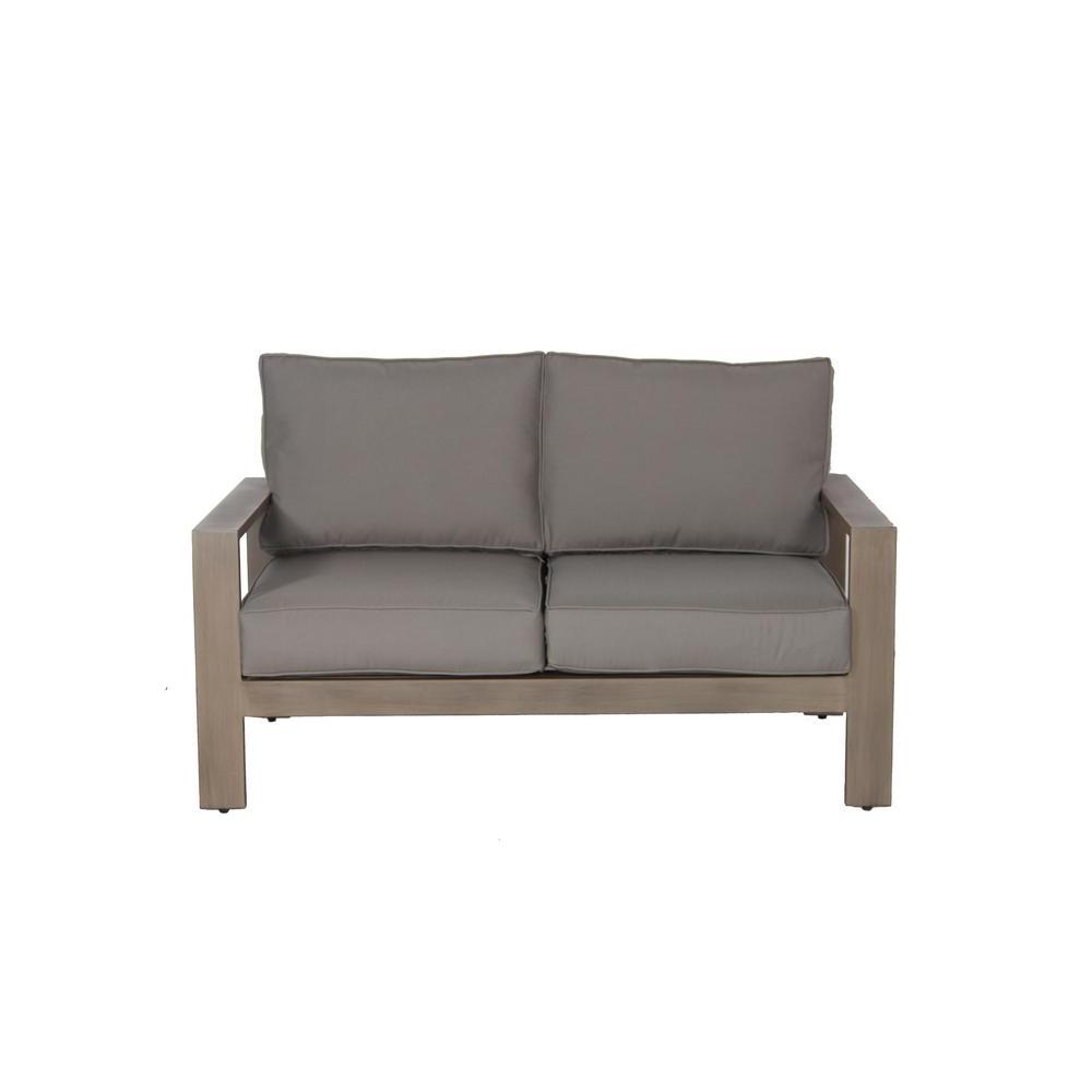 Loveseats With Sunbrella Cushions Regarding Newest Envelor Aruba Patio Aluminum Outdoor Loveseat With Sunbrella Spectrum Grey Cushions (View 2 of 25)