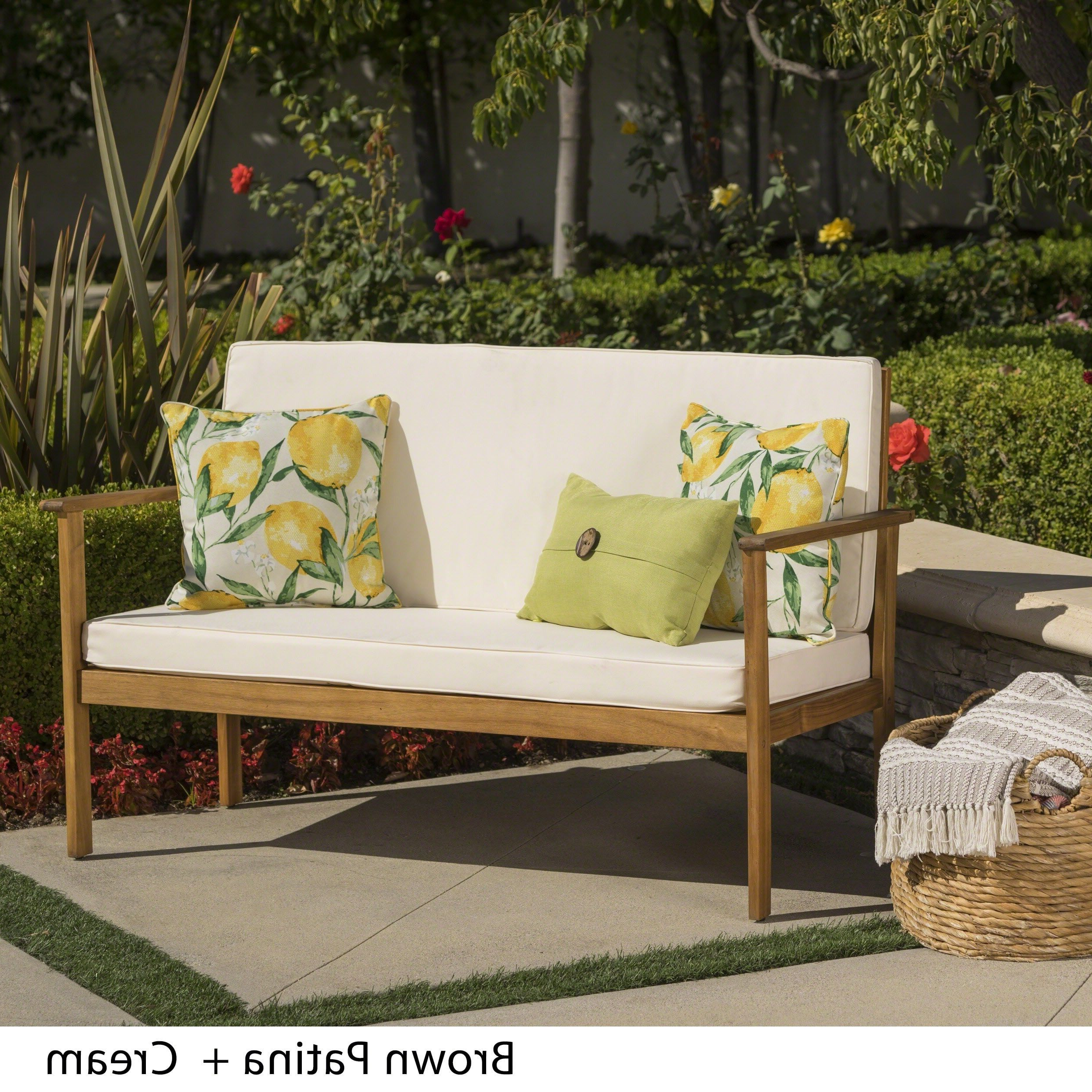 Luciano Outdoor Acacia Wood Bench With Cushions Regarding Most Recent Hagler Outdoor Loveseats With Cushions (View 2 of 25)