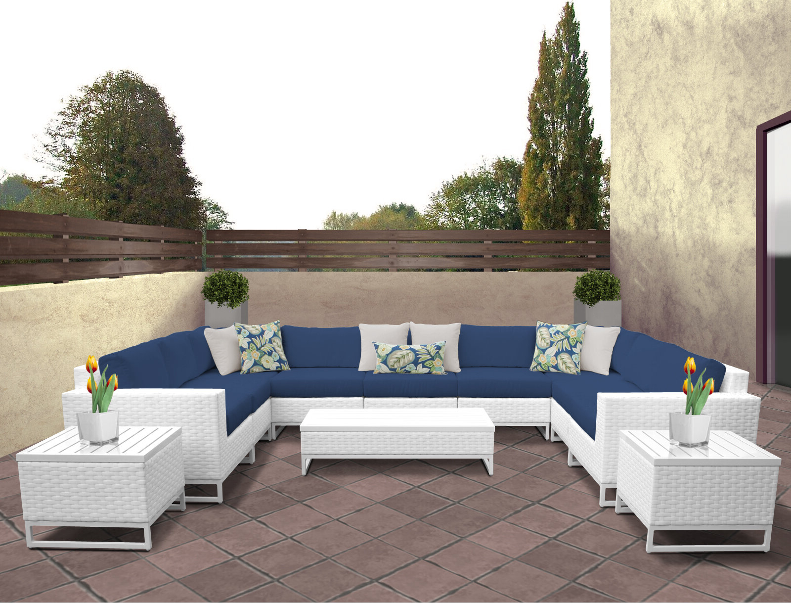 Menifee Patio Sofas With Cushions Inside Well Liked Menifee 12 Piece Sectional Seating Group With Cushions (View 3 of 25)