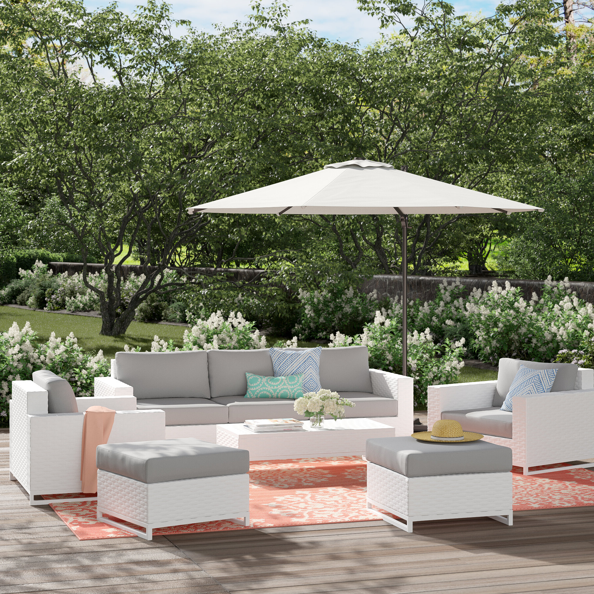 Menifee Patio Sofas With Cushions Within Popular Menifee 8 Piece Rattan Multiple Chairs Seating Group With Cushions (Gallery 9 of 25)