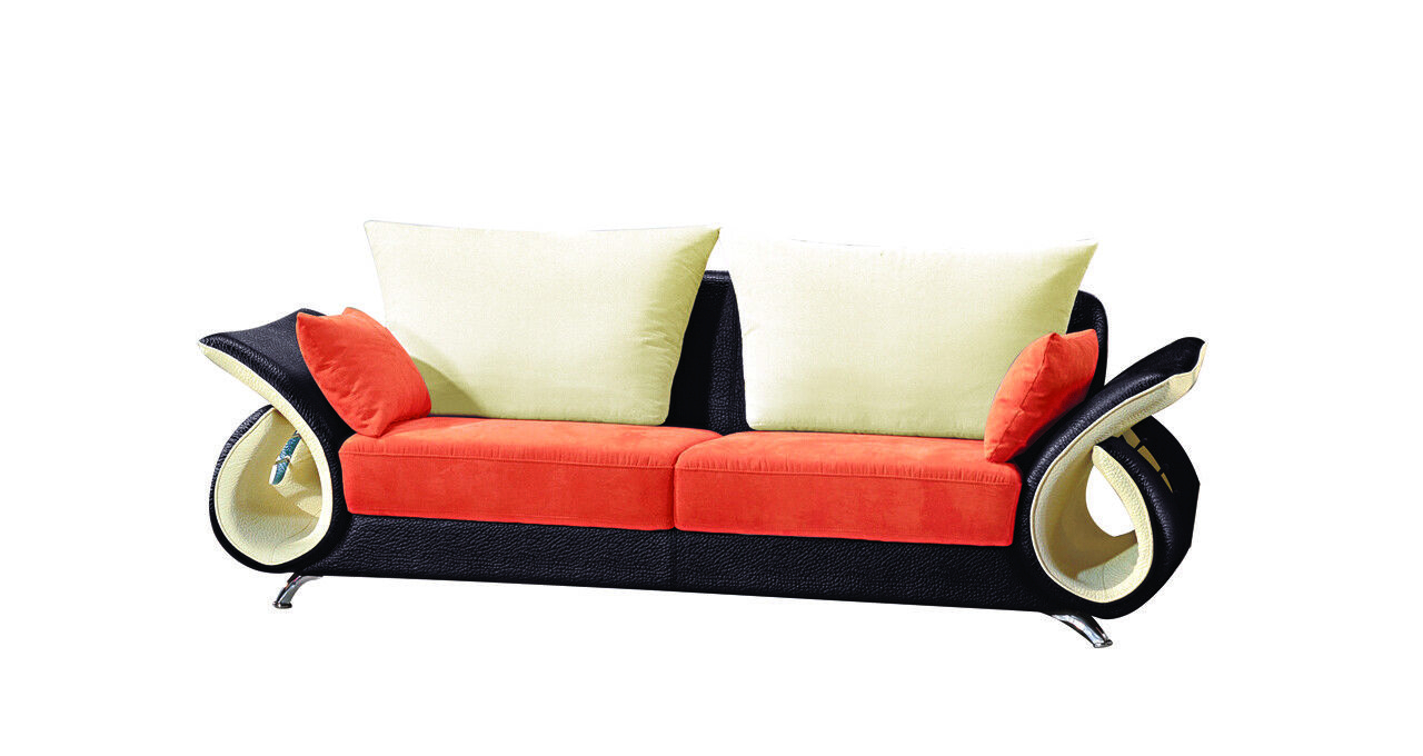 Modern Contemporary Sofa And Loveseat Microfiber Orange Black Couch 2pc Set Within Well Known Dayse Contemporary Loveseats With Cushion (View 11 of 25)