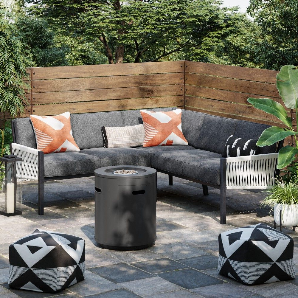 Modern Outdoor Project 62 Lunding 3Pc Sectional Fire Patio In Popular Olinda 3 Piece Sectionals Seating Group With Cushions (View 11 of 25)