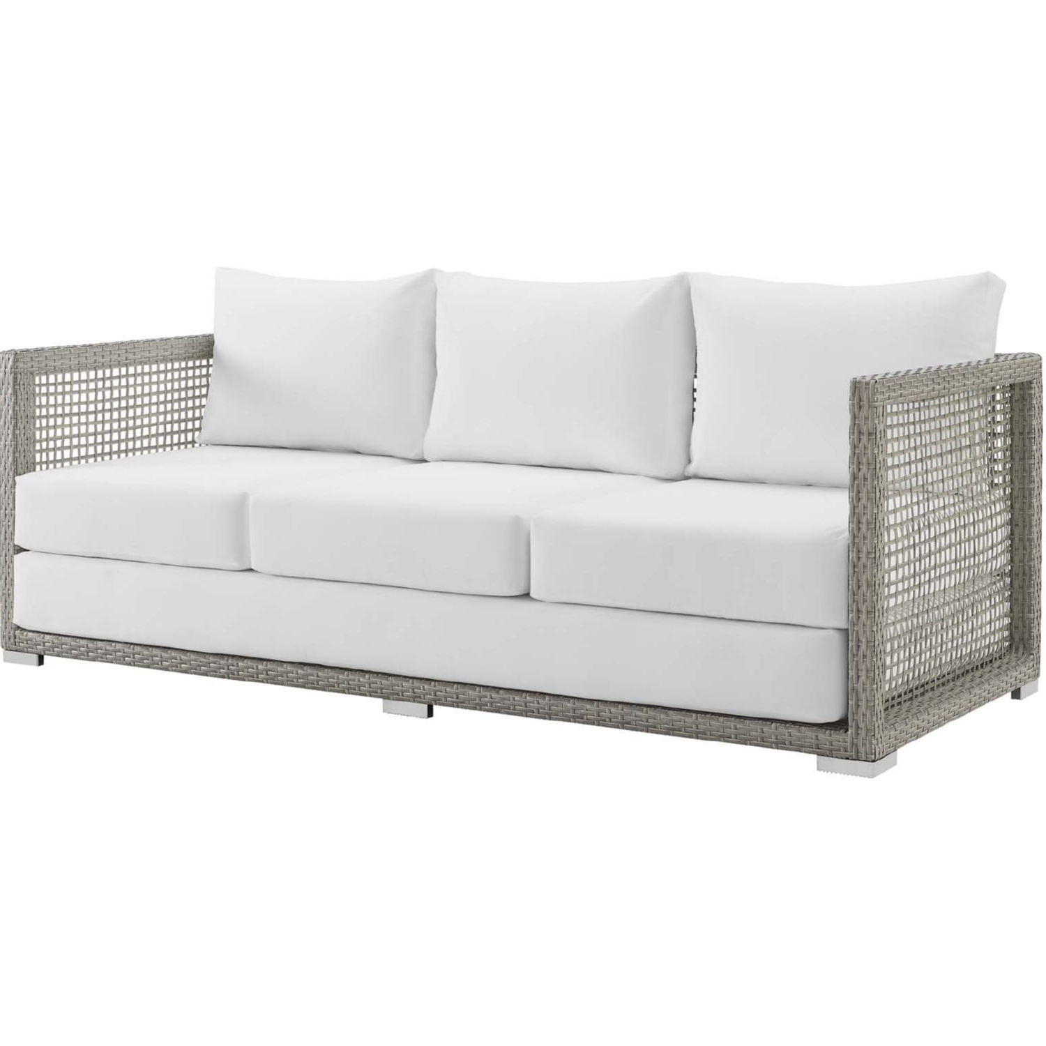 Modway Aura Outdoor Gray Wicker Rattan Sofa White Fabric With Famous Baca Patio Sofas With Cushions (View 16 of 25)