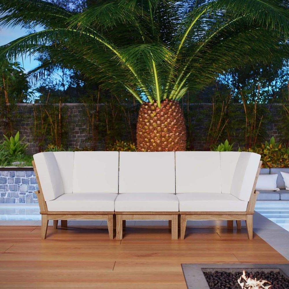 Modway Eei 1820 Marina 3 Piece Outdoor Patio Teak Sofa Set For Latest Bodine Patio Daybeds With Cushions (Gallery 25 of 25)