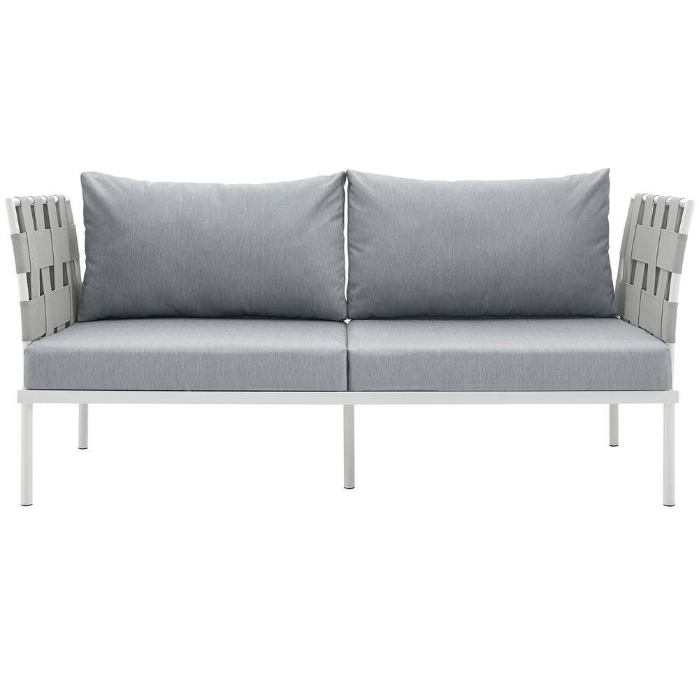 Modway Harmony Aluminum Patio Outdoor Loveseat In White With Throughout 2019 Rossville Outdoor Patio Sofas With Cushions (View 10 of 25)