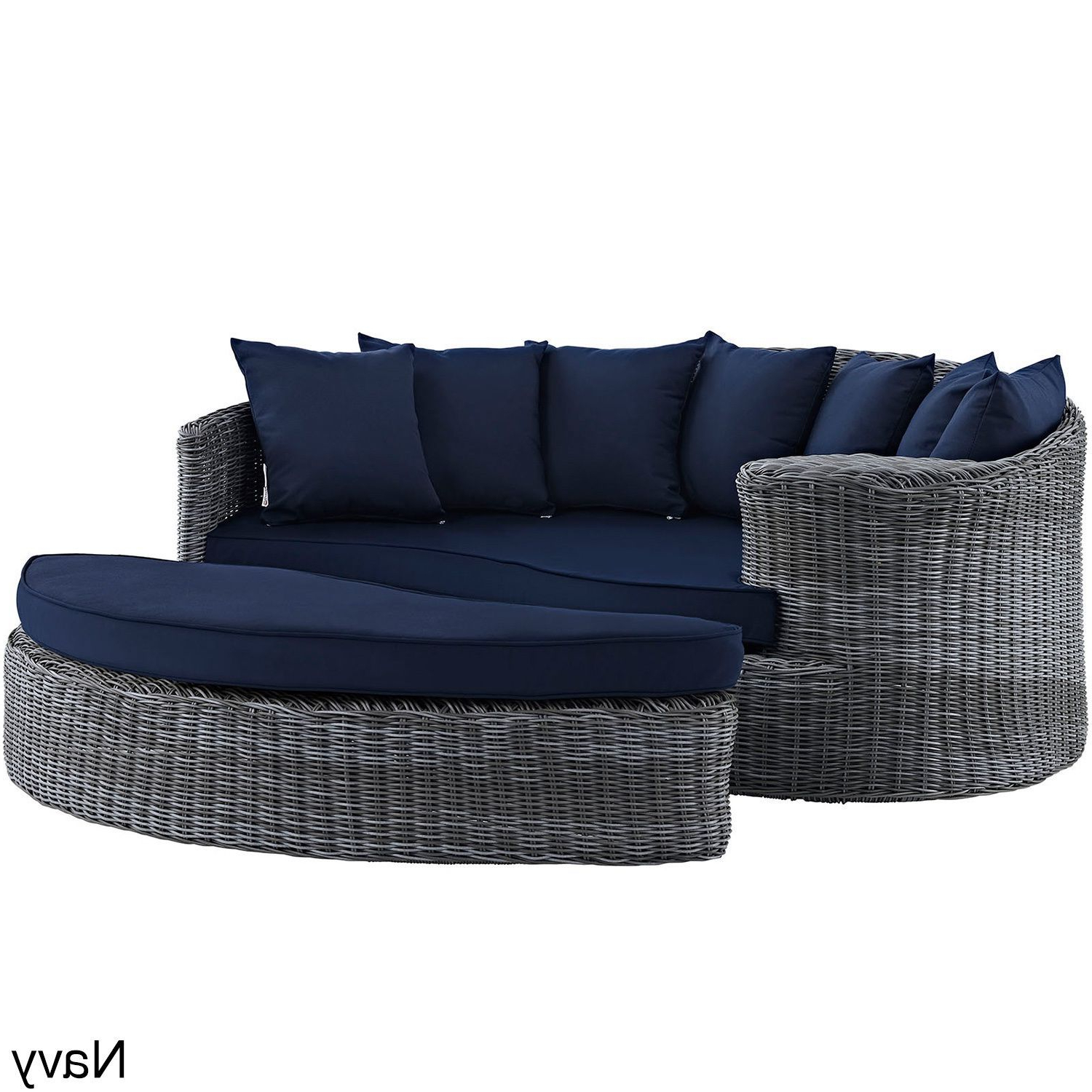 Modway Invite Outdoor Patio Daybed (canvas Navy (blue Throughout Latest Naperville Patio Daybeds With Cushion (Gallery 17 of 25)
