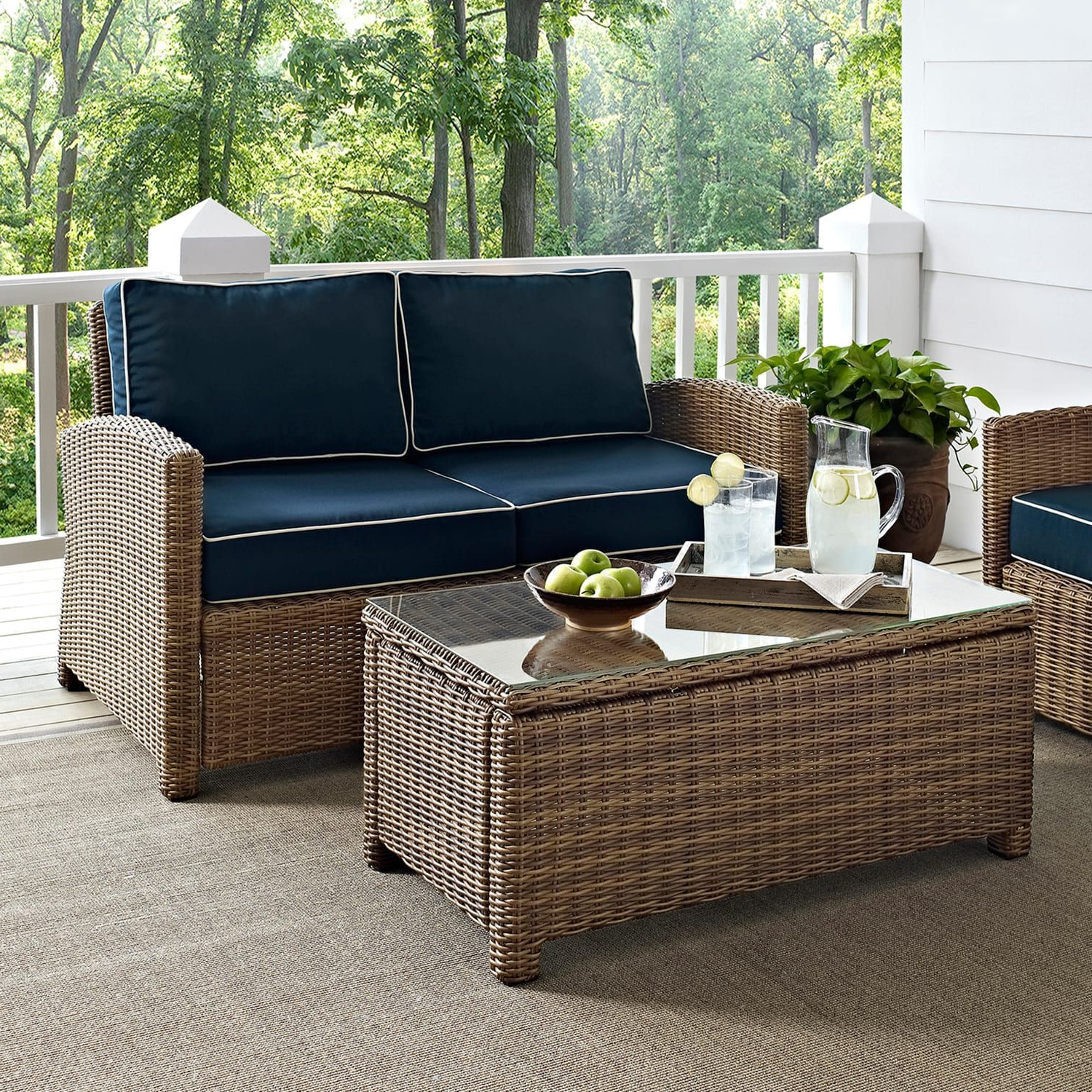 Most Current Crosley Outdoor Bradenton 2 Pc. Outdoor Wicker Seating With Lawson Wicker Loveseats With Cushions (Gallery 20 of 25)