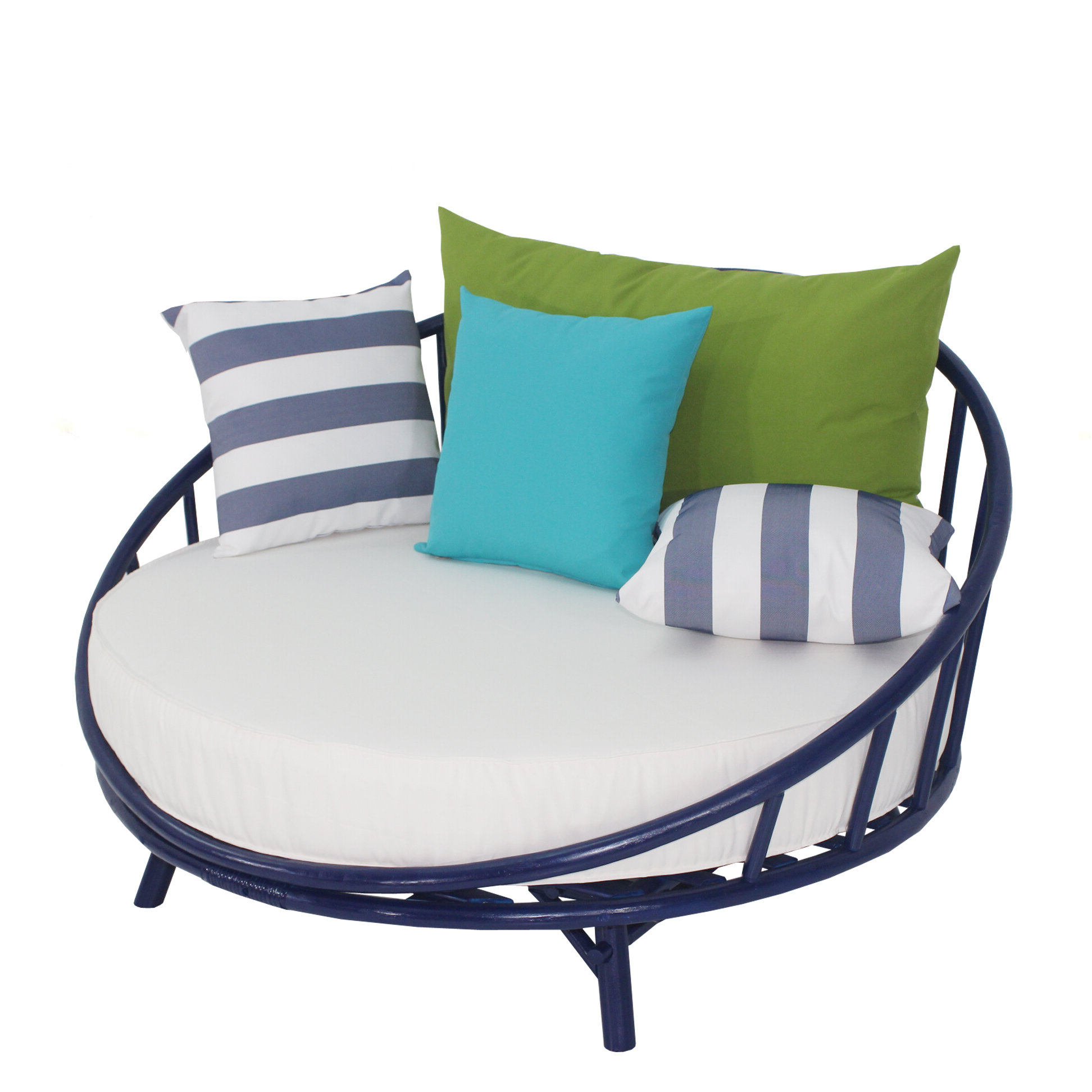 Most Current Dowling Patio Daybeds With Cushion Within Olu Bamboo Large Round Patio Daybed With Cushions (View 25 of 25)