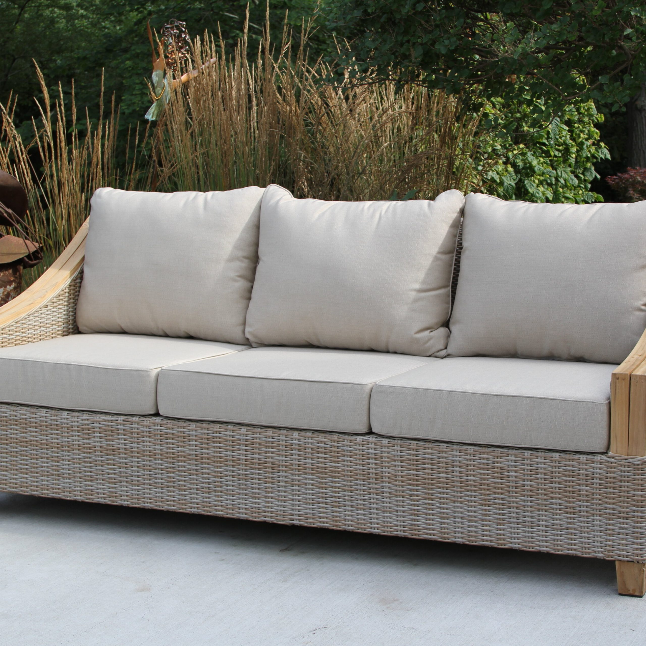 Most Current Kincaid Teak Patio Sofa With Sunbrella Cushions Throughout Honeycutt Patio Sofas With Cushions (View 10 of 25)