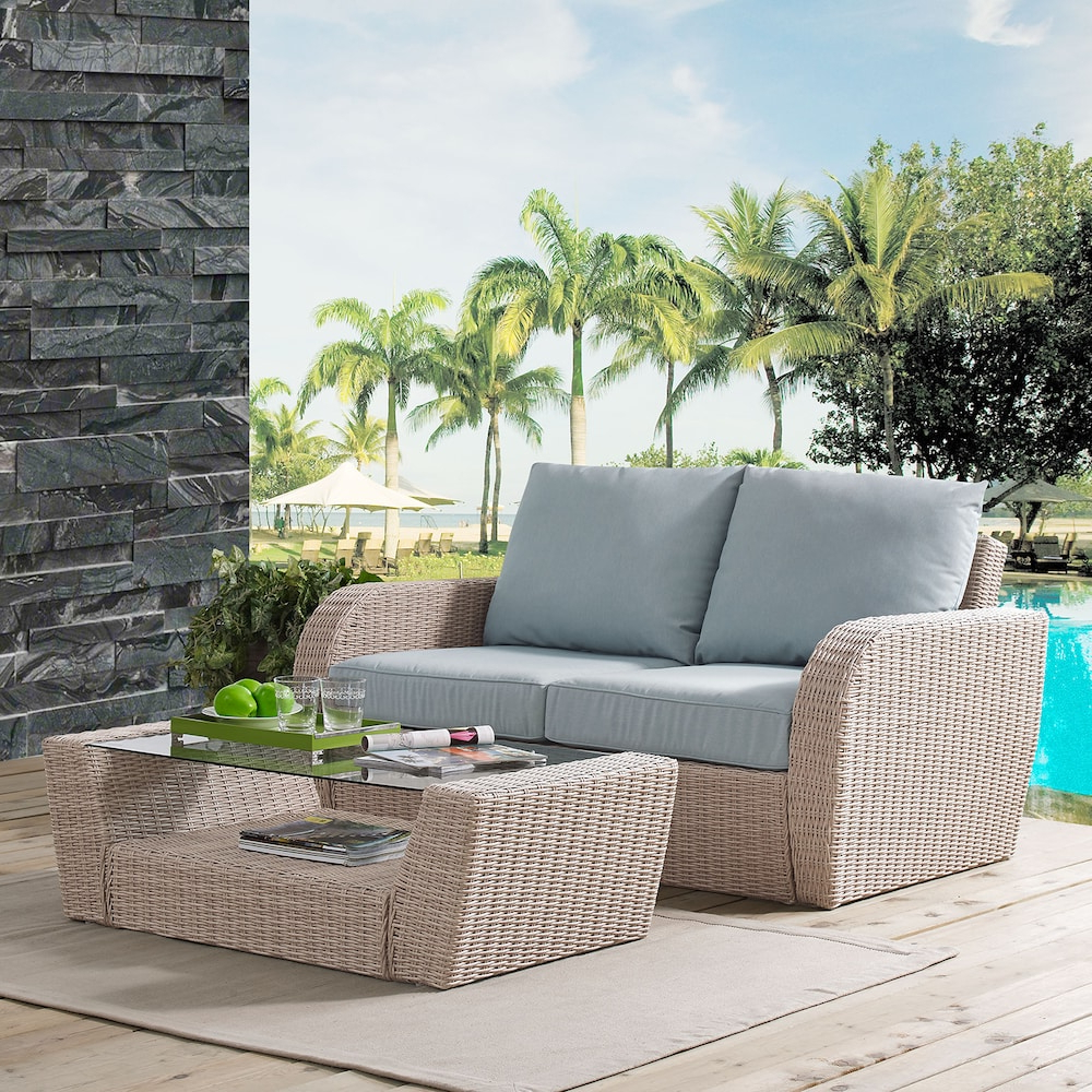 Most Current Lawson Patio Sofas With Cushions In Augustine Crosley Furniture St. Patio Wicker Loveseat (Gallery 11 of 25)