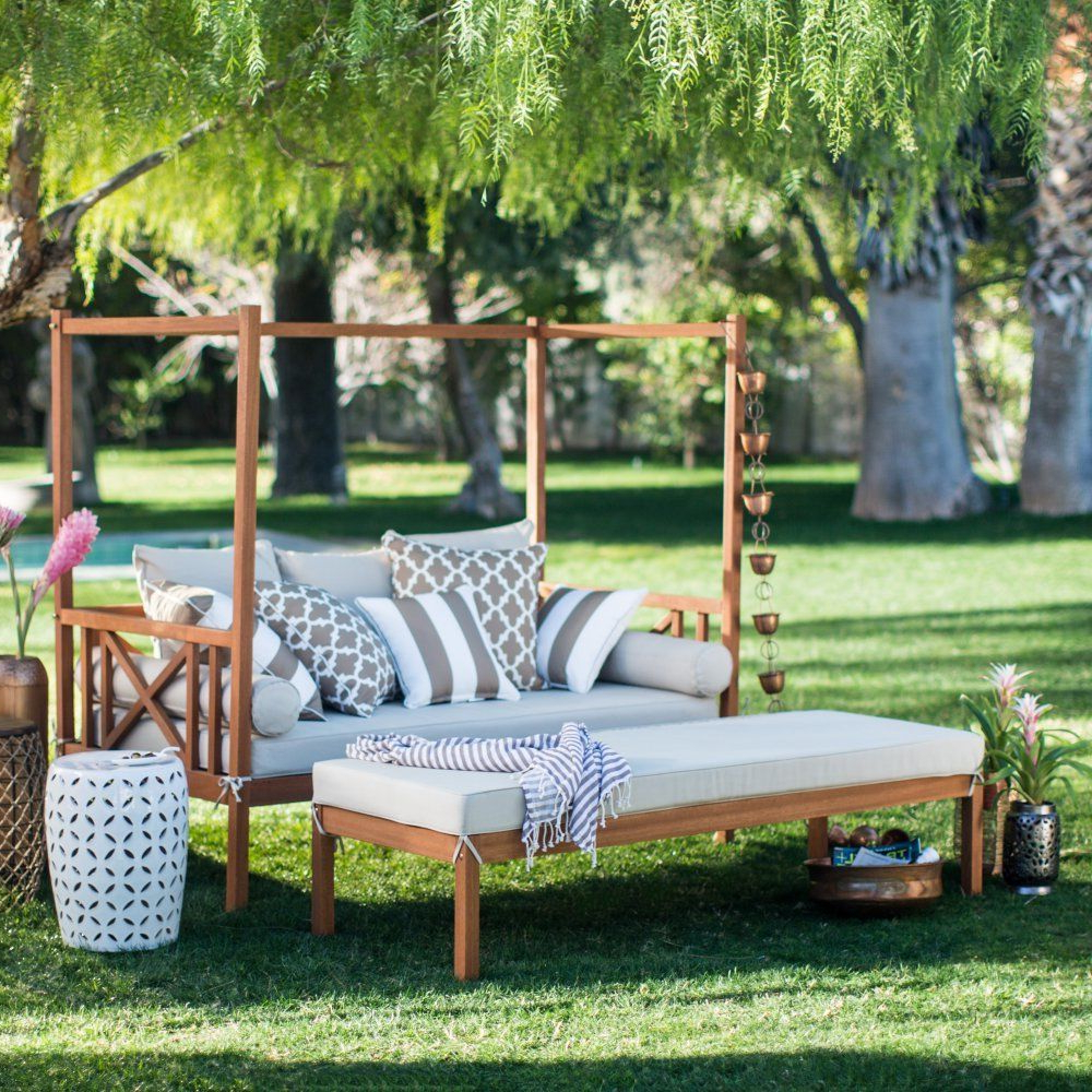 Most Current Naperville Patio Daybeds With Cushion Throughout Khaki Cushion Patio Daybed Ottoman Set Outdoor Home Furniture Garden Backyard (Gallery 9 of 25)