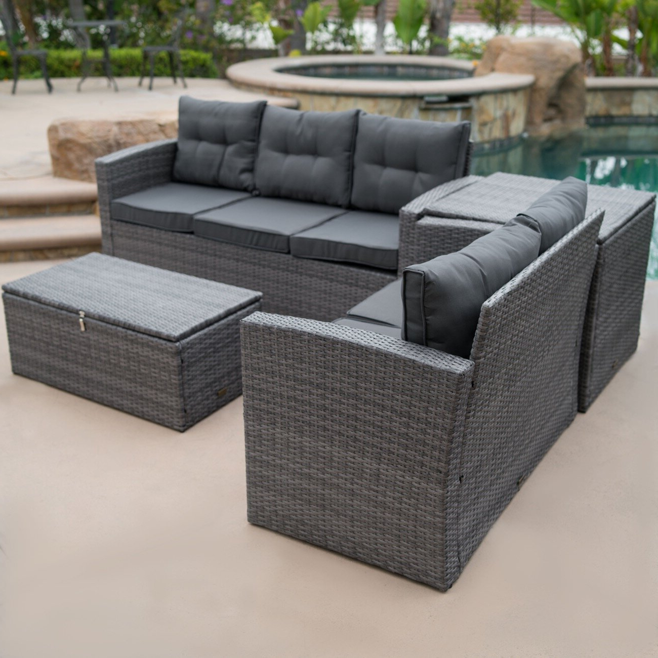 Most Current Repp Patio Sofas With Cushion Within Rowley Patio Sofa Set With Cushions (View 14 of 25)