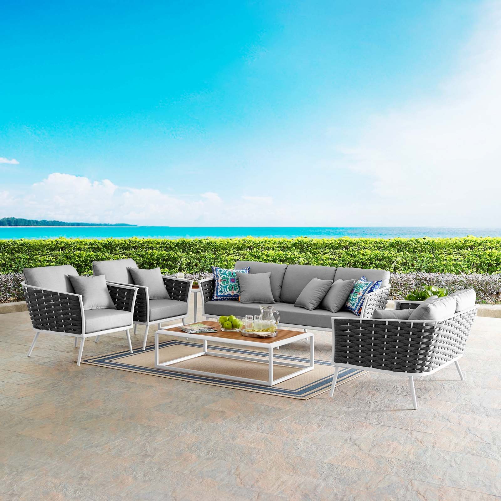 Most Current Rossville Outdoor Patio Sofas With Cushions Pertaining To Marketonic 7 Piece Outdoor Patio Aluminum Sectional Sofa Set (View 15 of 25)