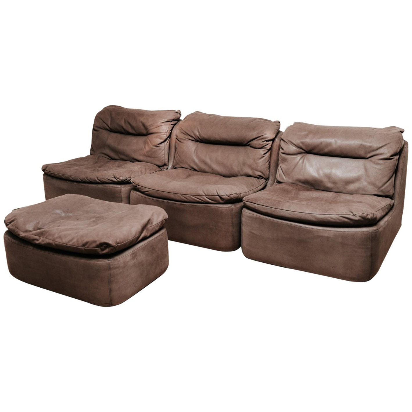 Most Popular 20th Century Leather Modular/sectional Sofa At 1stdibs With Regard To Brecht Patio Sectionals With Cushions (View 20 of 25)