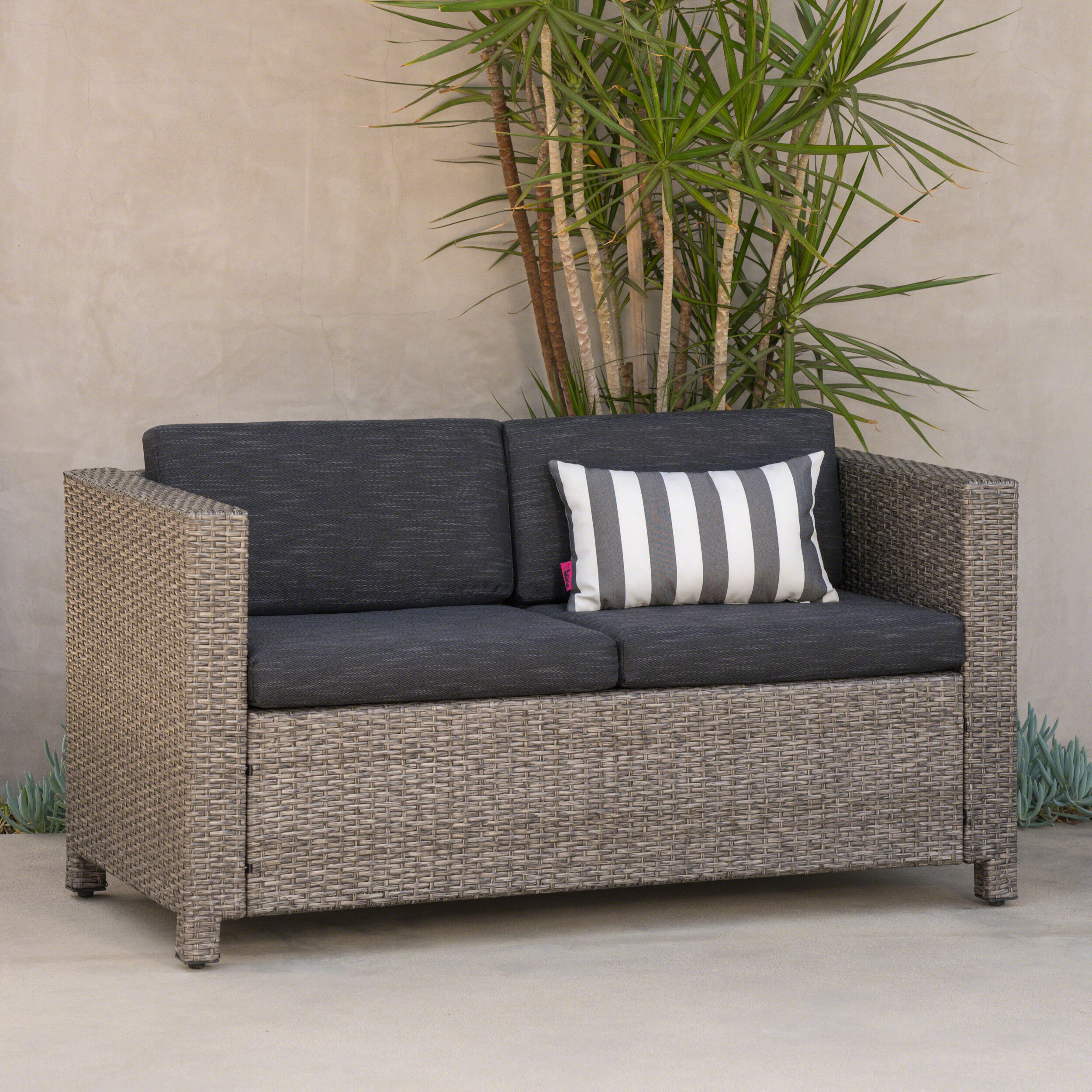 Most Popular Baca Patio Sofas With Cushions Intended For Furst Outdoor Loveseat With Cushions (Gallery 16 of 25)