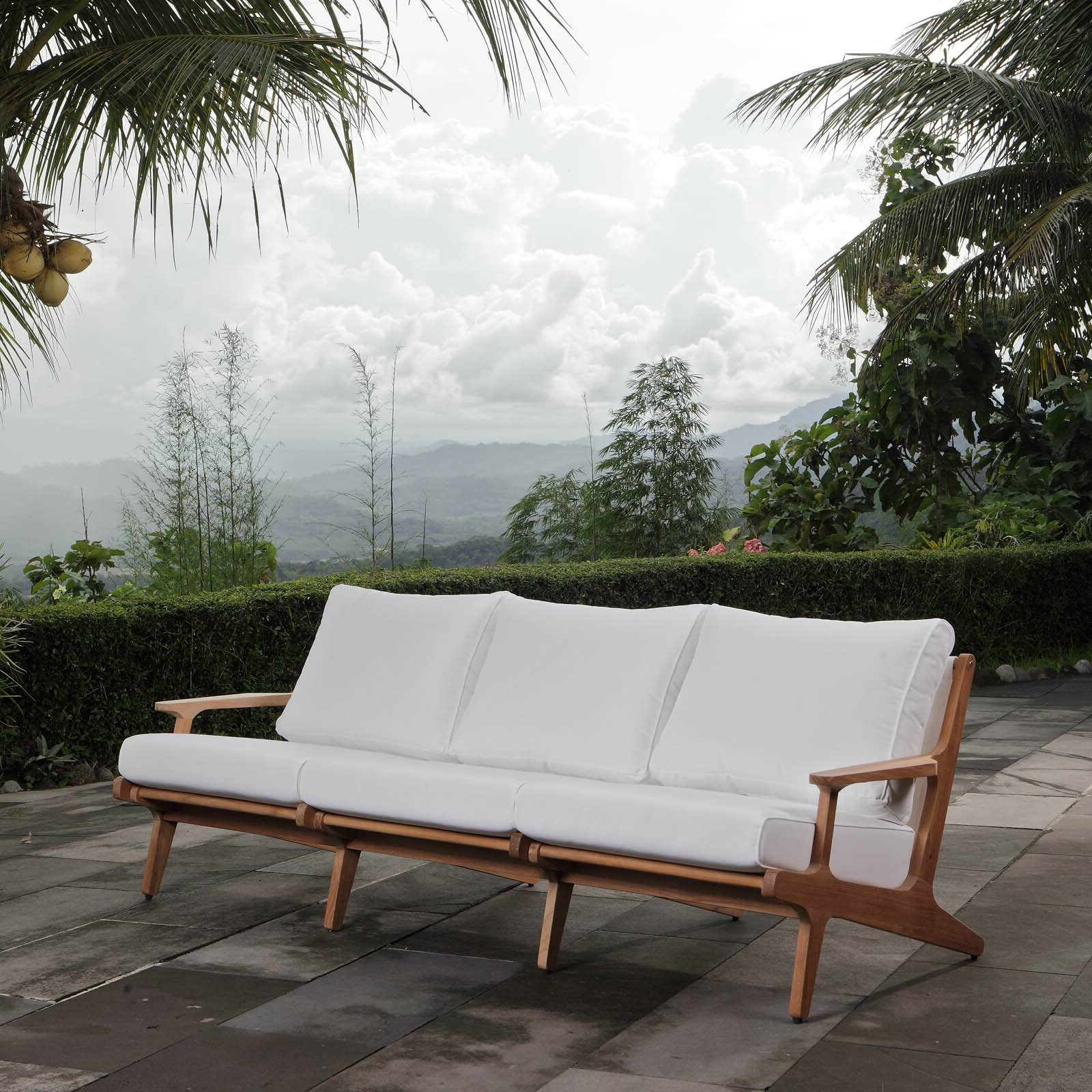 Most Popular Jamilla Teak Patio Sofas With Cushion In Berube Teak Patio Sofa With Cushions (Gallery 2 of 25)